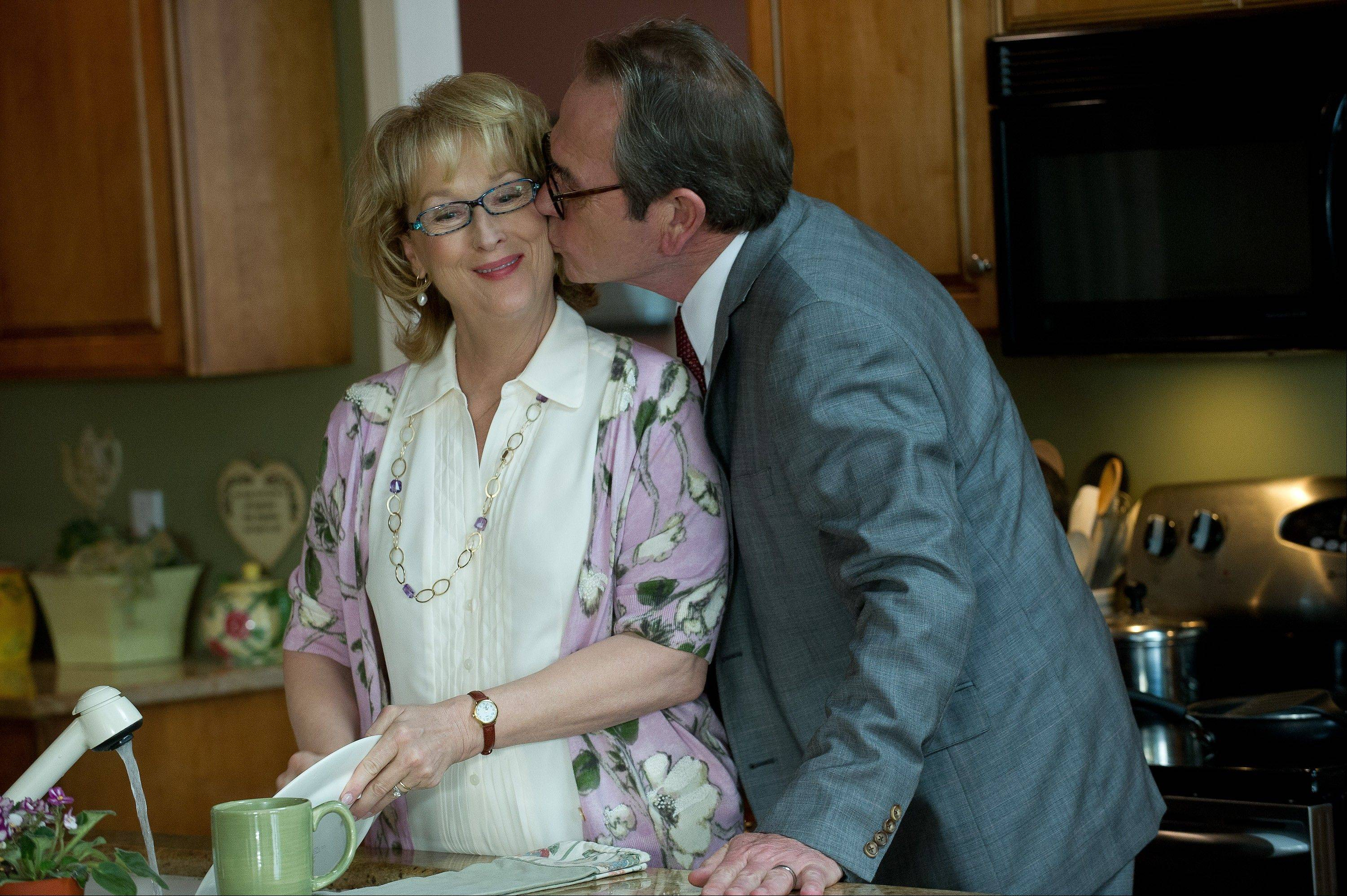 "Kay and Arnold (Meryl Streep and Tommy Lee Jones) try to add romance to their stale marriage in ""Hope Springs."""