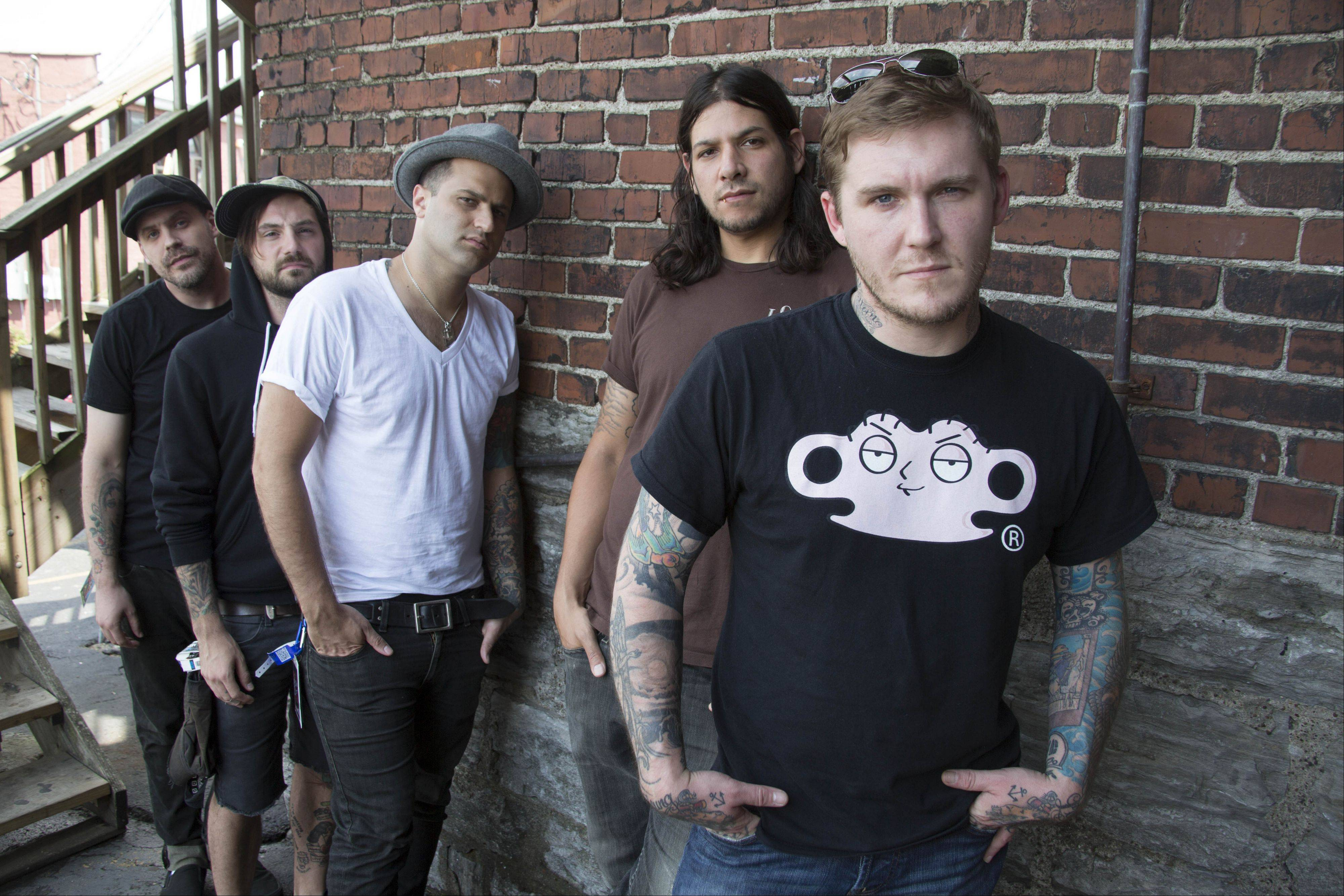 "The Gaslight Anthem — Brian Fallon, right, Benny Horowitz, Alex Levine, Alex Rosamilia and Ian Perkins — left New Jersey for Nashville, Tenn., in February to record their new album, ""Handwritten."""