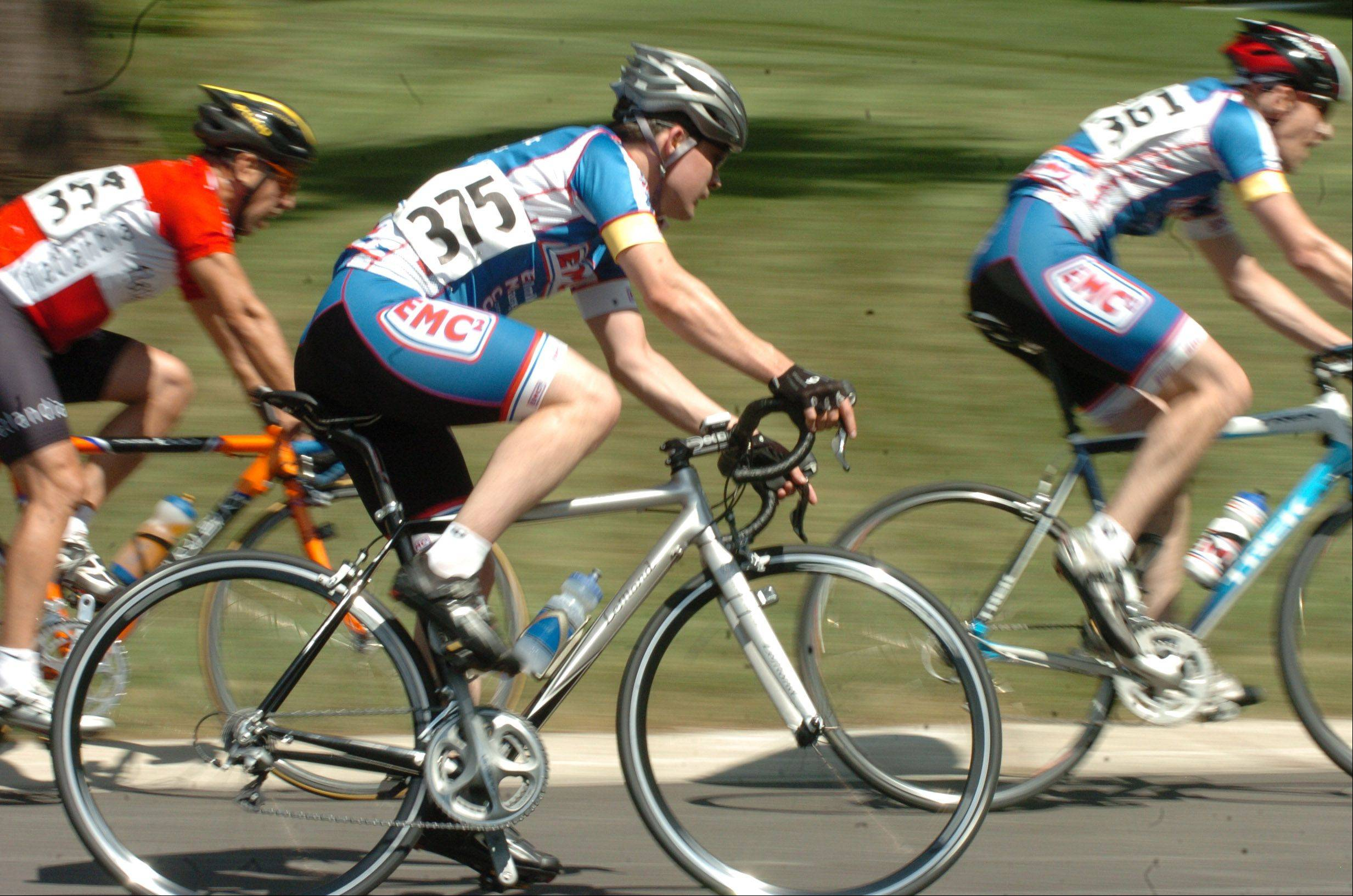 Racers in the novice Category 5 compete Saturday in the first day of the 13th annual Winfield Criterium weekend. Organizers said they expect to draw more than 1,000 spectators during the two-day event.