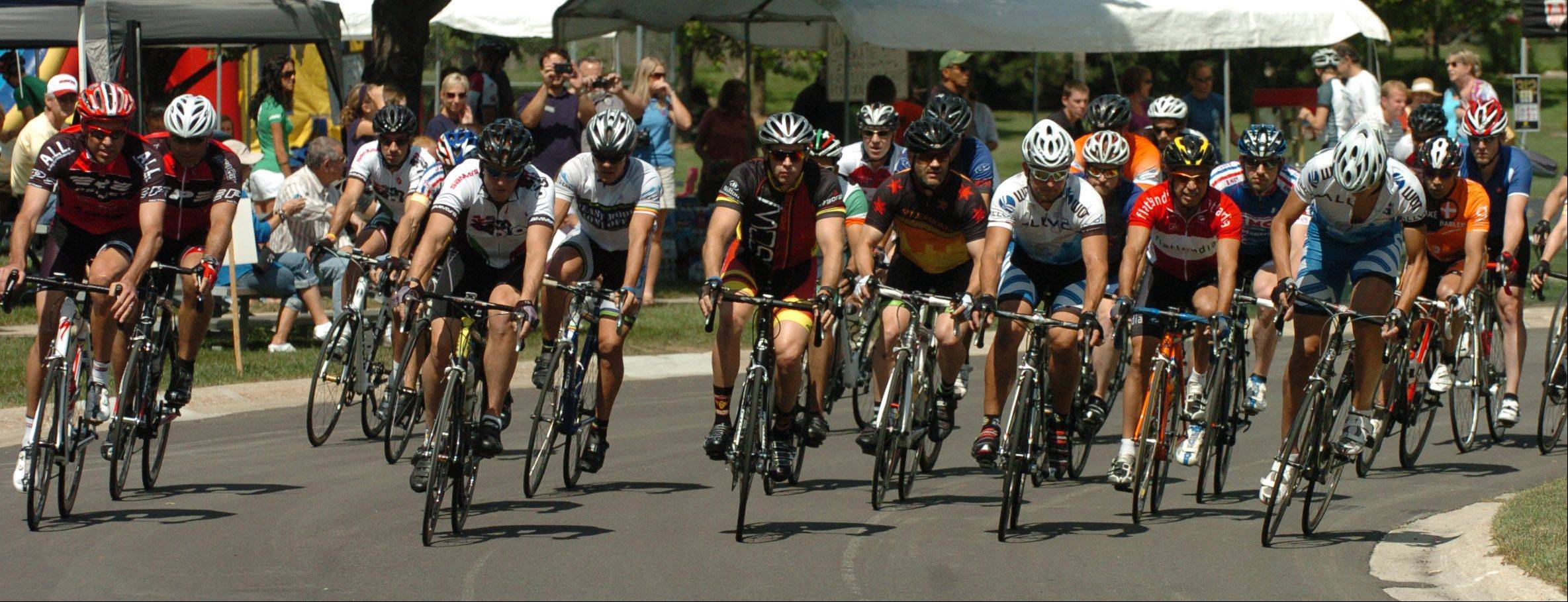 A field of 50 novice racers competes Saturday in the Category 5 race at the 13th annual Winfield Criterium.