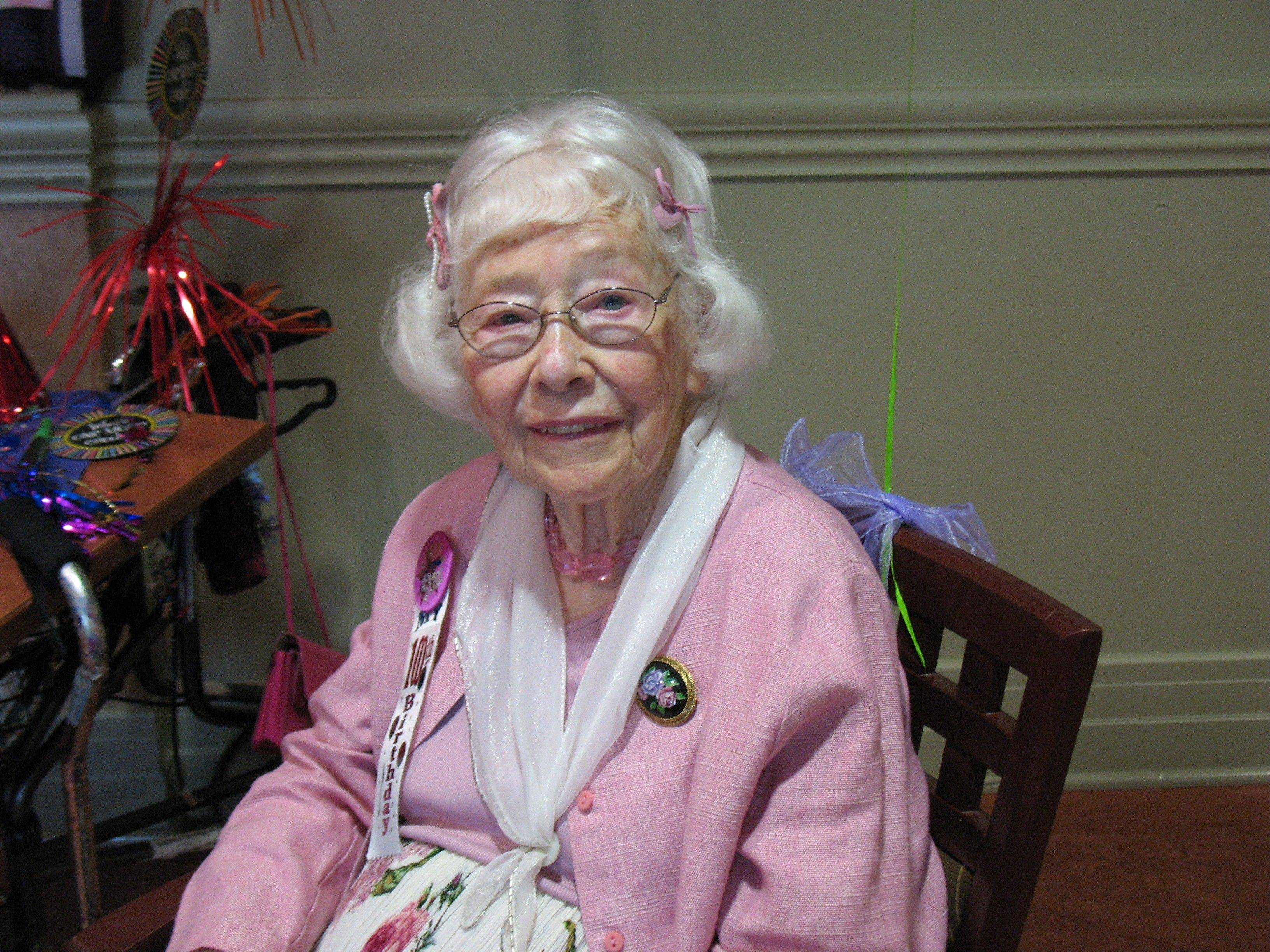 Isabelle Sandquist celebrated her 100th birthday Wednesday at the Holmstad senior living center in Batavia.