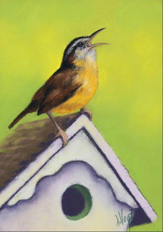 "Wren House, a painting by Jenny Vogt, part of the ""Nature of Birds"" exhibit hosted by Arts in Bartlett."