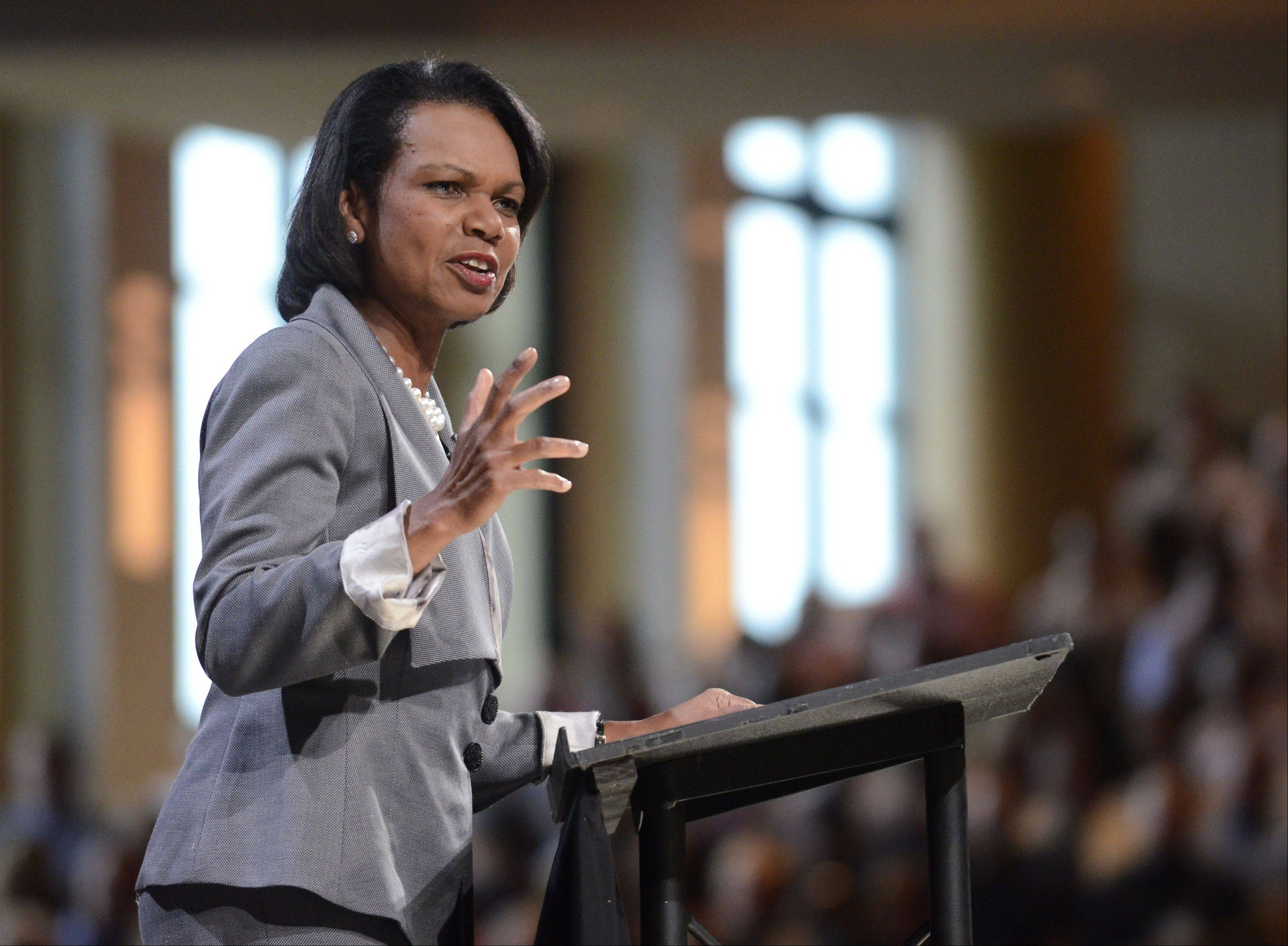 Former U.S. Secretary of State Condoleezza Rice speaks at the Willow Creek Community Church Global Leadership Summit Thursday in South Barrington.