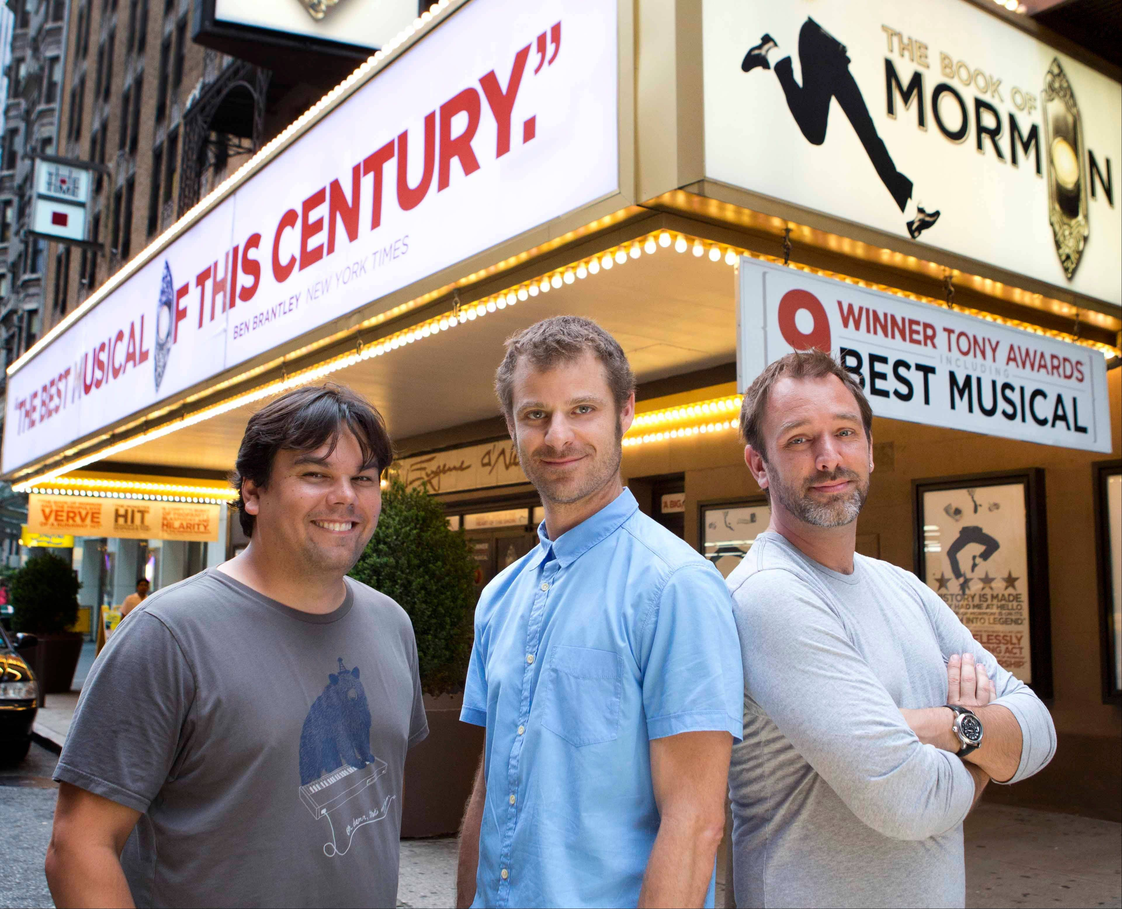 Robert Lopez, Matt Stone and Trey Parker in front of the Eugene O�Neill Theater where the Tony-award winning musical �The Book of Mormon,� is performing in New York. The nine-time Tony Award-winning musical opens its first national tour in Denver this month.