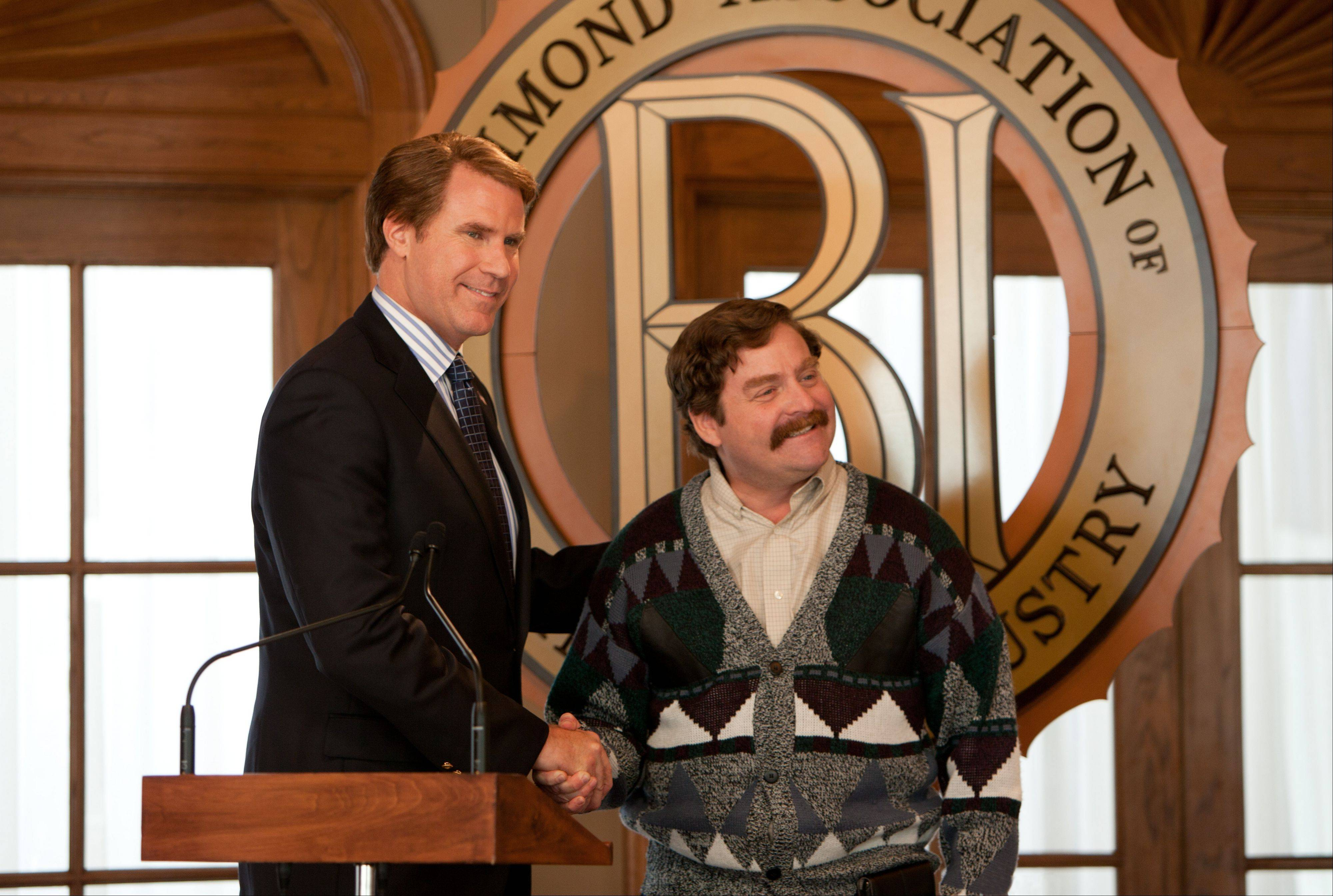 "Democratic Congressman Cam Brady (Will Ferrell), left, meets his Republican challenger Marty Huggins (Zach Galifianakis) in the smart and lowbrow political comedy ""The Campaign."""