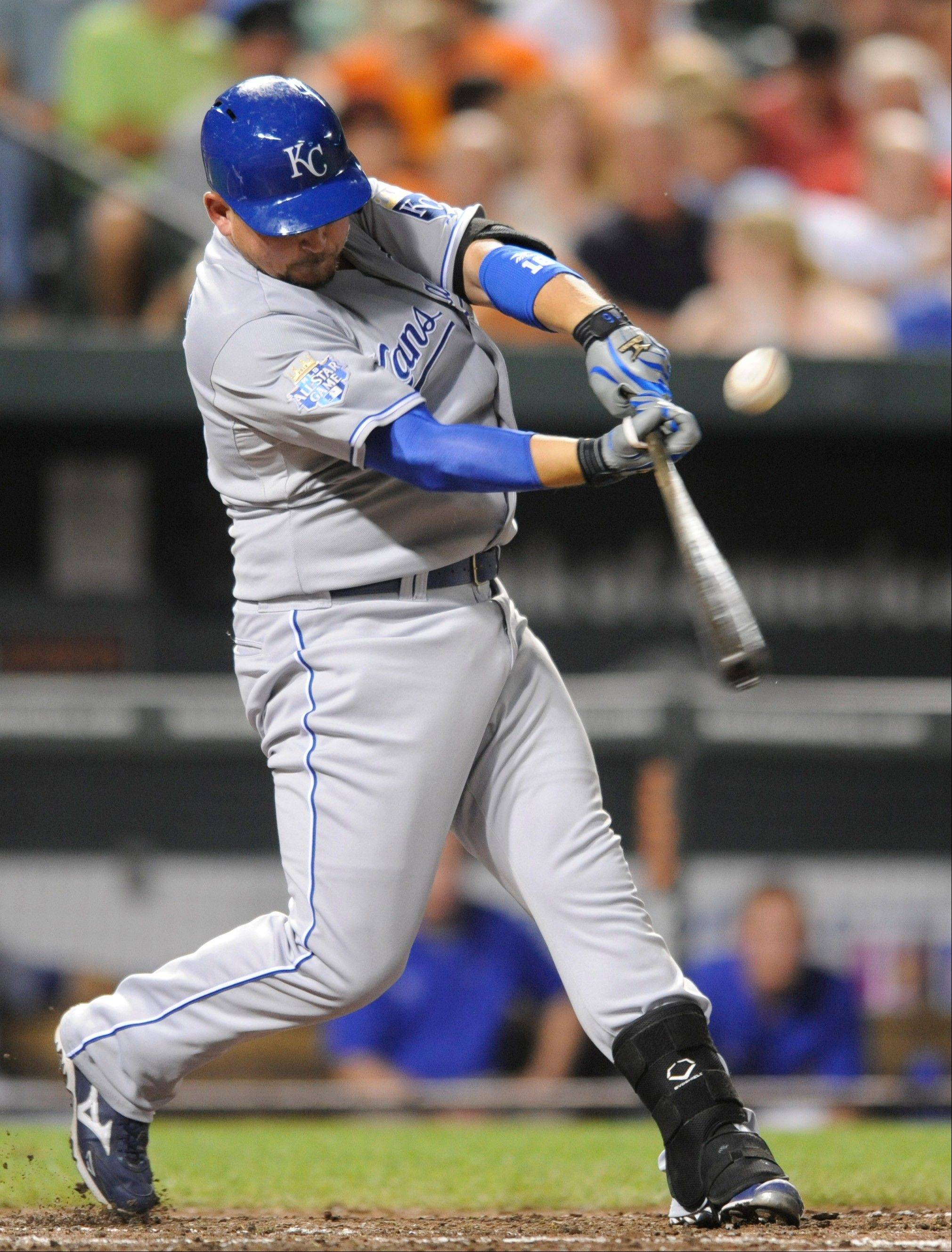 The Royals� Billy Butler connects for a triple in the fifth inning Thursday in Baltimore.