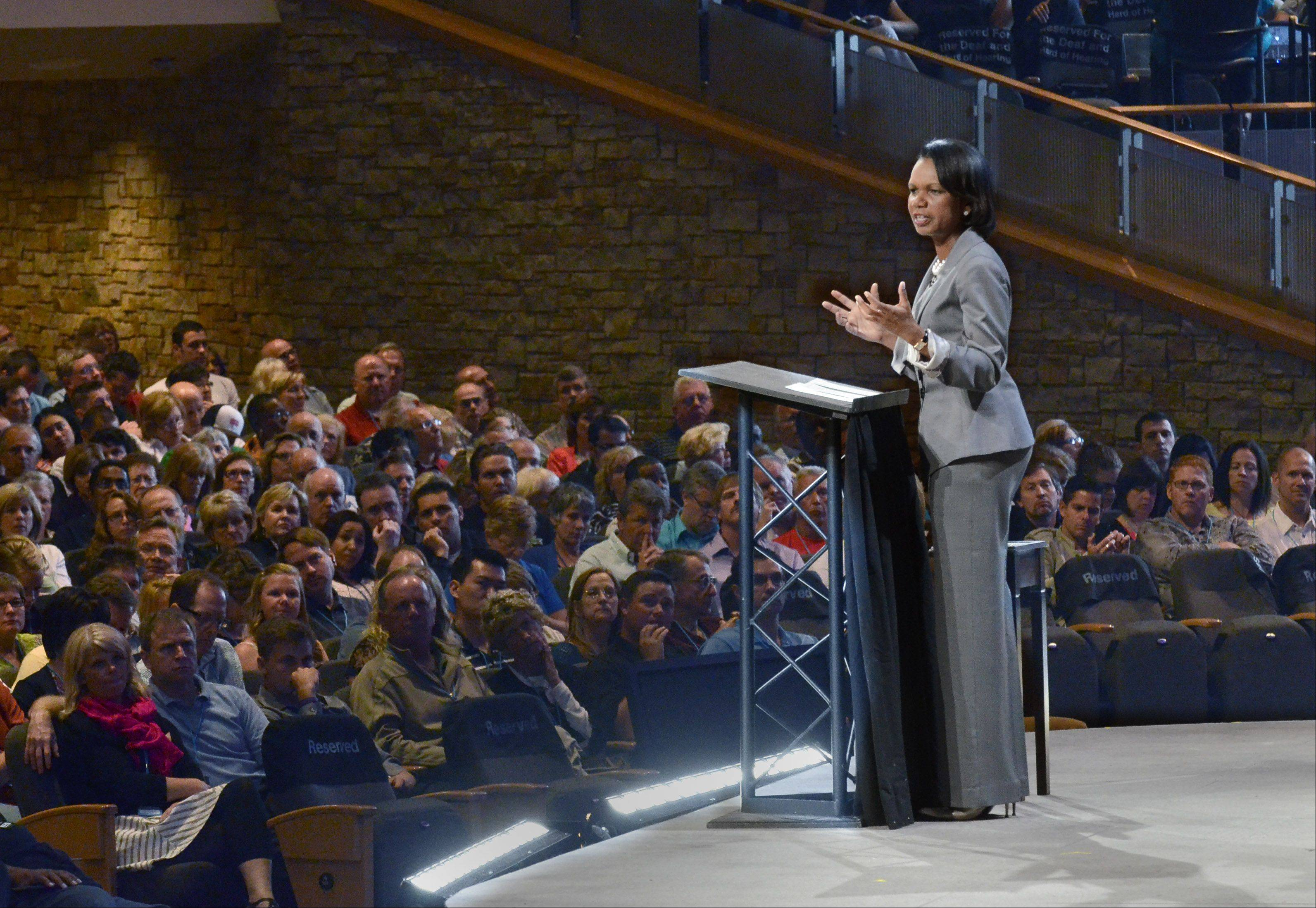 About 7,000 people listen to former U.S. Secretary of State Condoleezza Rice at the Willow Creek Community Church Global Leadership Summit Thursday in South Barrington.