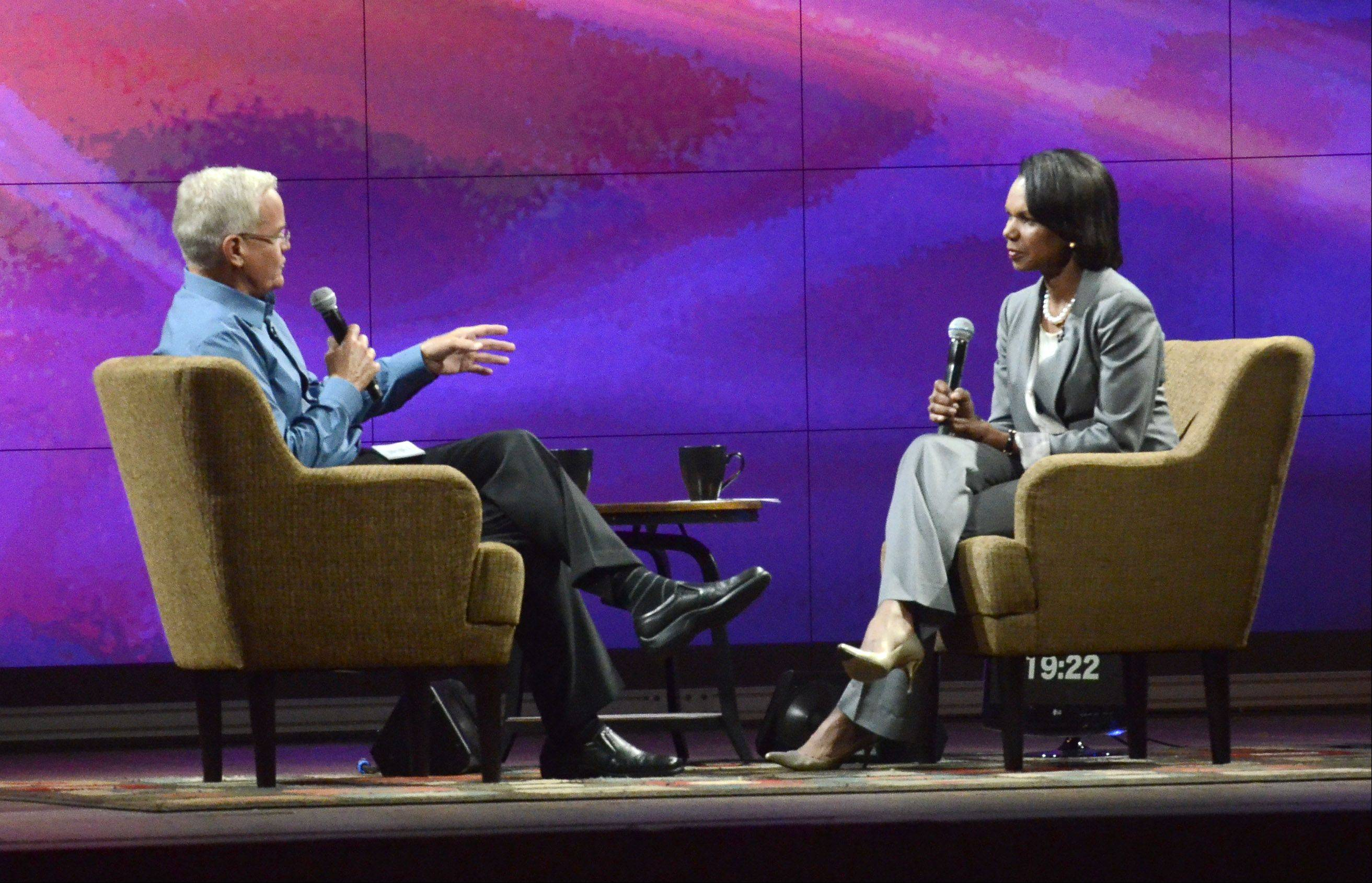 Bill Hybels, founding and senior pastor at Willow Creek Community Church, interviews former U.S. Secretary of State Condoleezza Rice after she spoke at the Global Leadership Summit Thursday in South Barrington.
