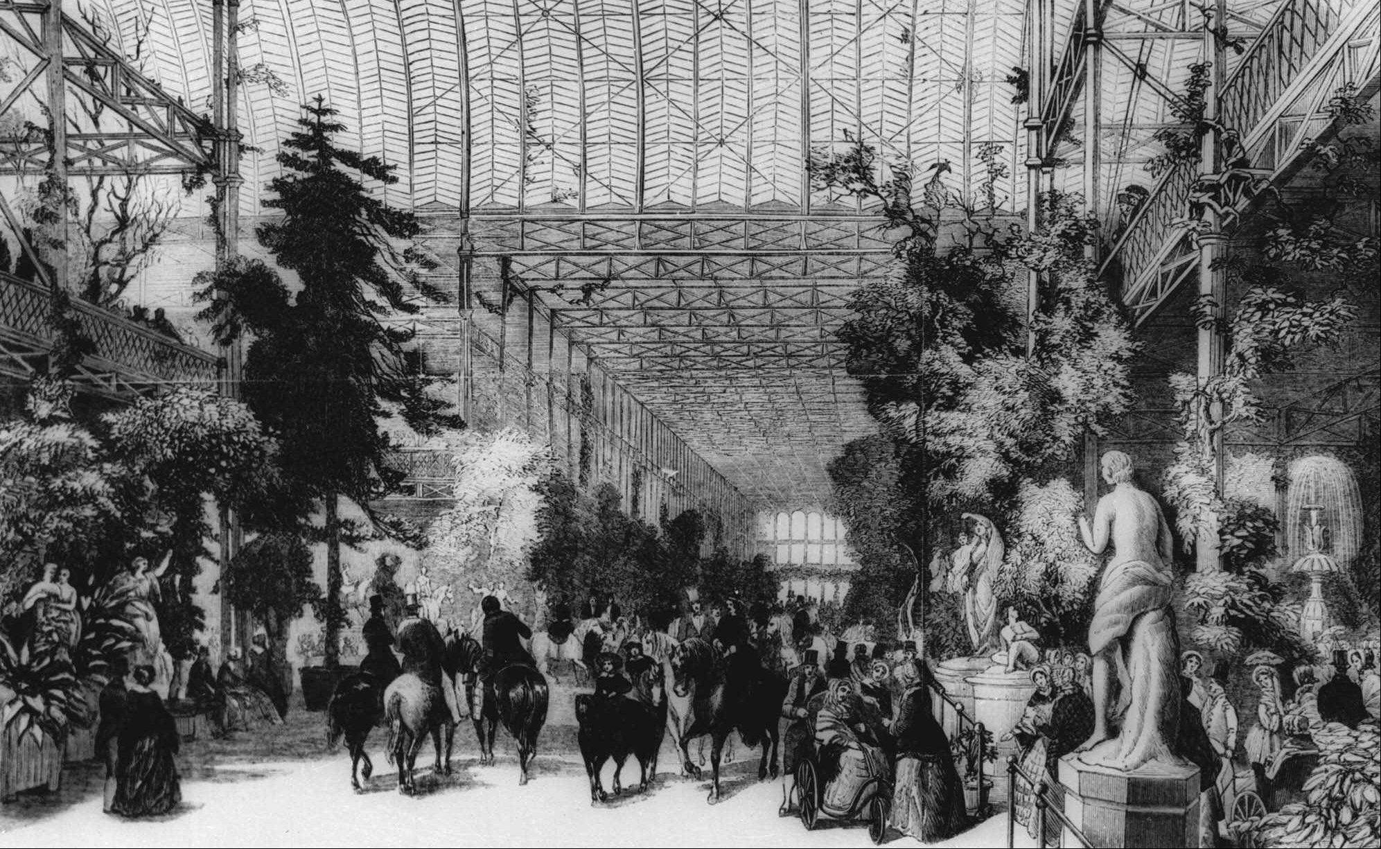 An undated an artist's sketch shows a scene at the Great Exhibition of the Industry of All Nations at the Crystal Palace in Hyde Park, London in 1851.