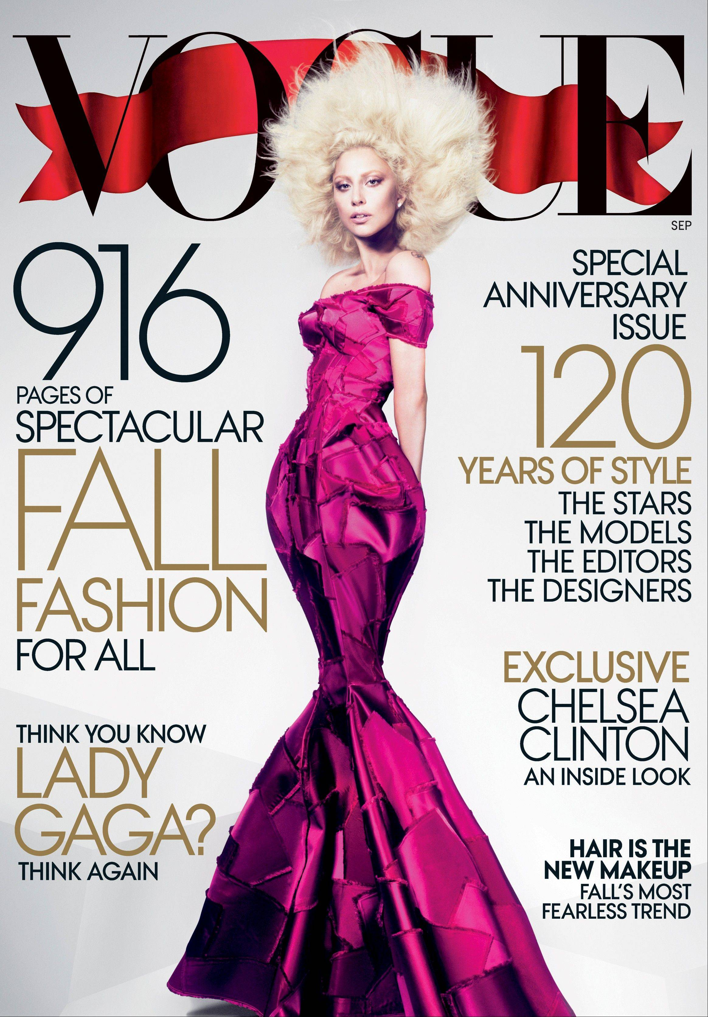 Lady Gaga is featured on the cover of the September issue of Vogue magazine.