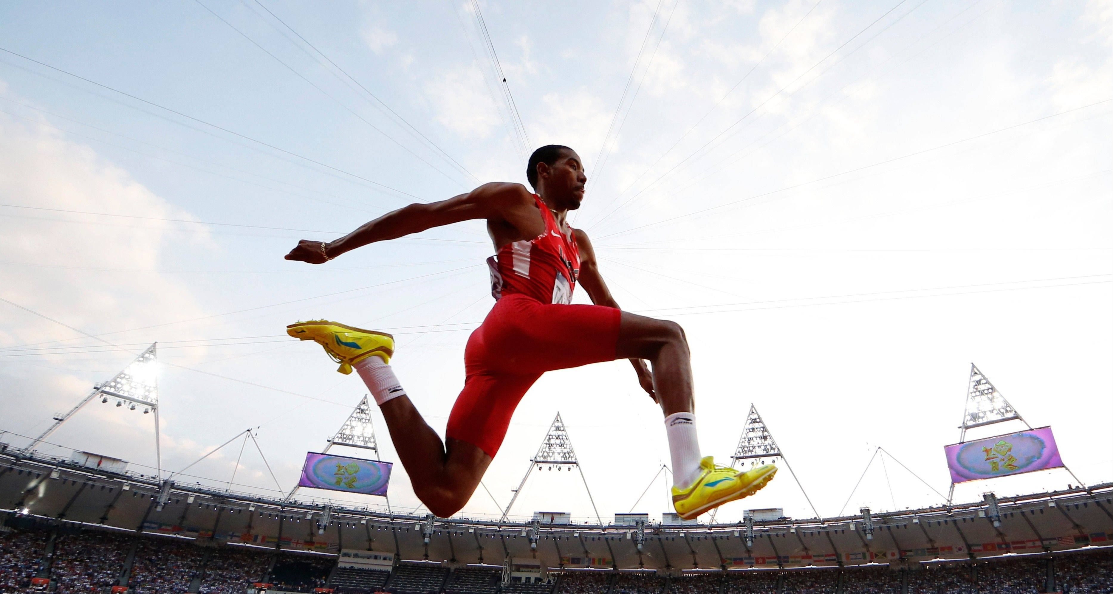 United States triple jumper Christian Taylor competes Thursday in the men's triple jump final.