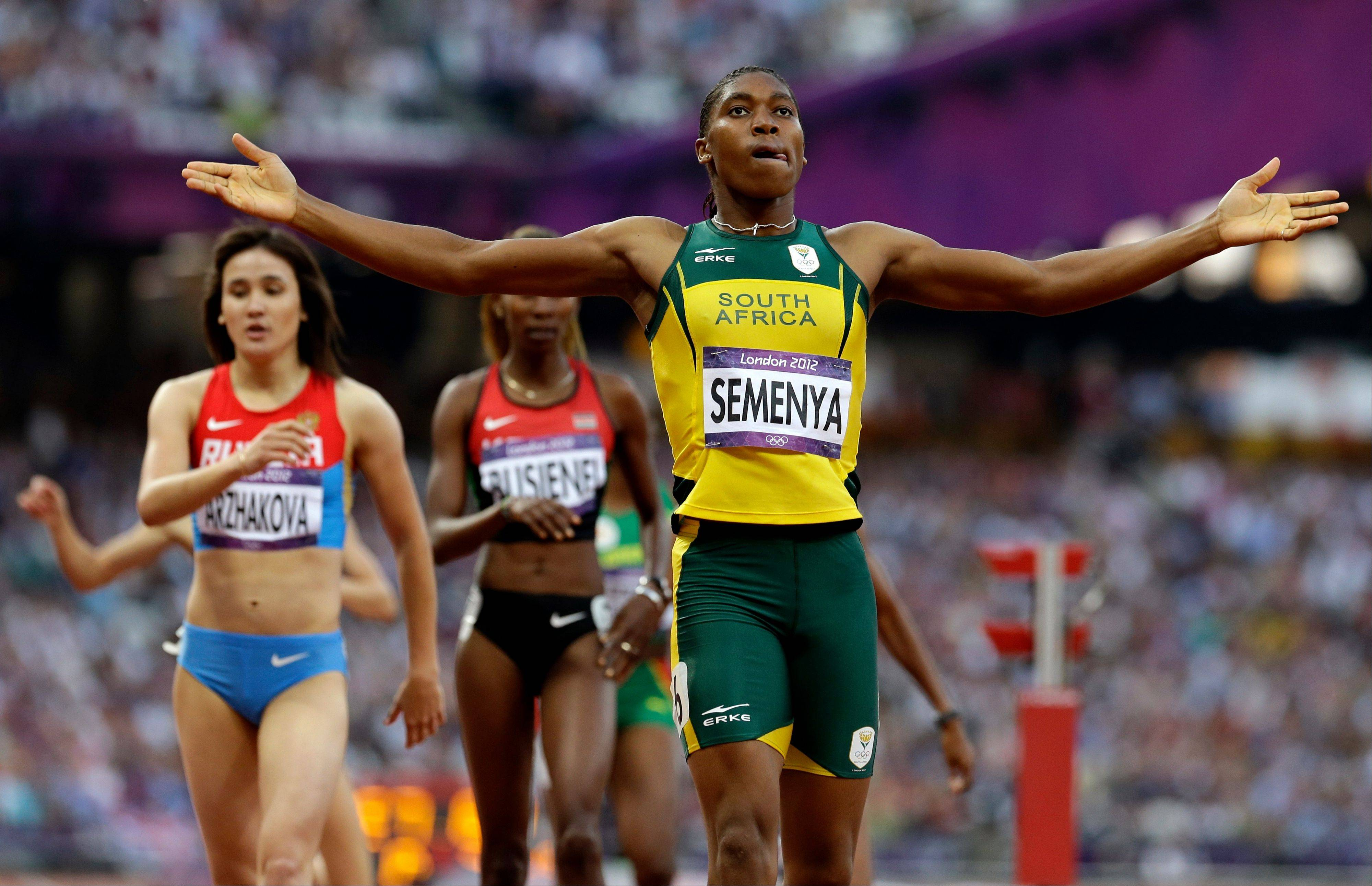 South Africa's Caster Semenya reacts Thursday after competing in the women's 800-meter semifinal.