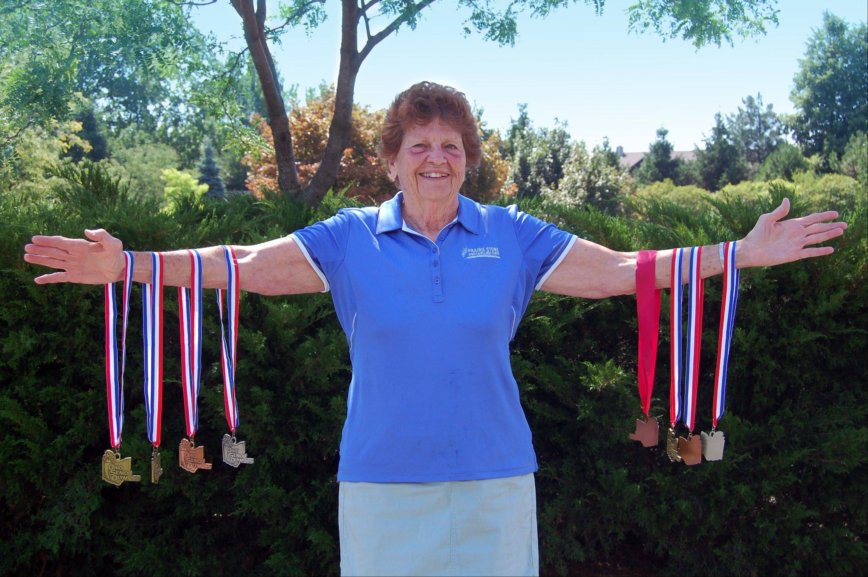 Lollie Guiney, a Hoffman Estates Park District board commissioner, won eight medals in a Senior Olympics competition in July in Ohio.