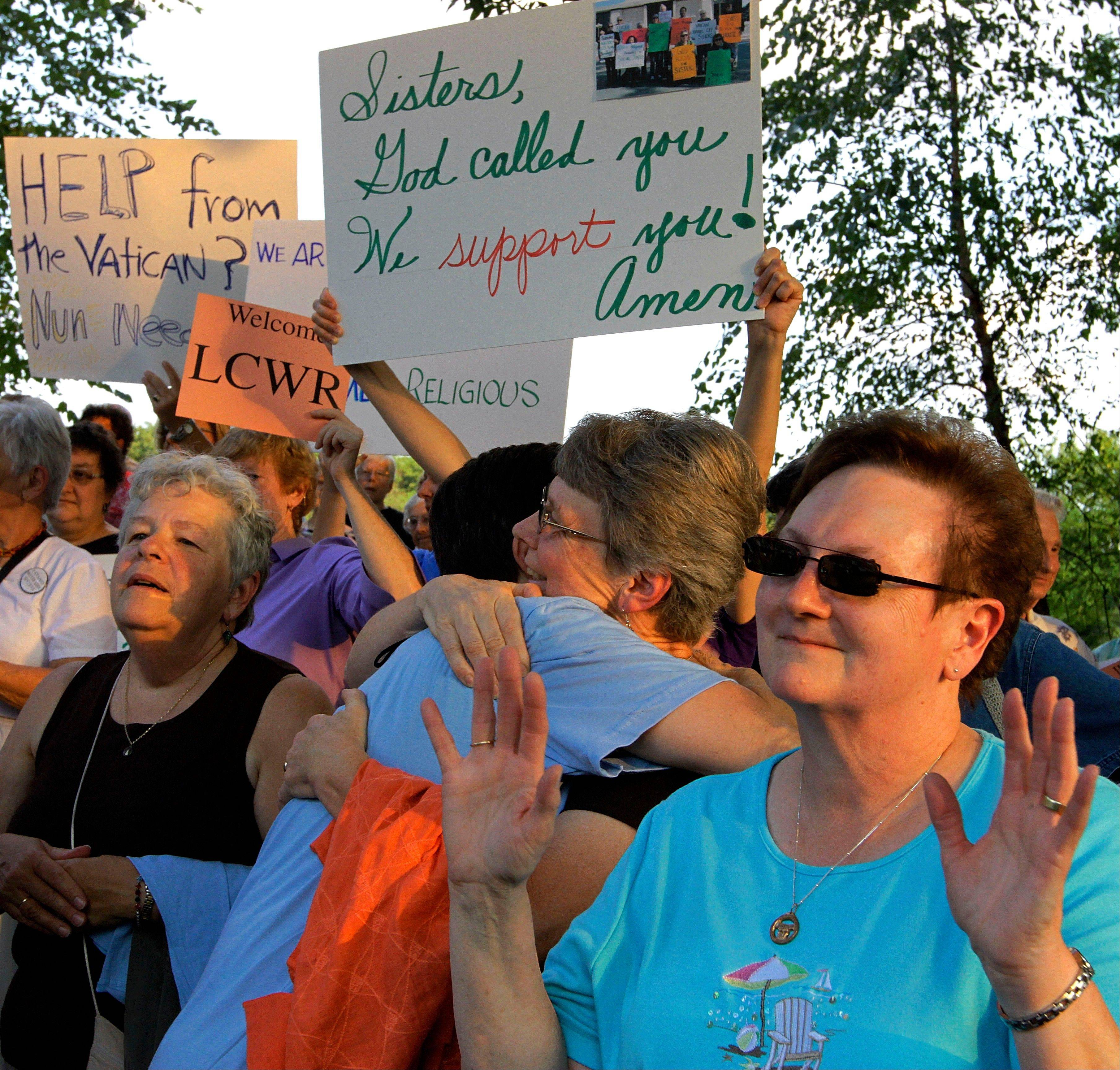 Supporters of The Leadership Conference of Women Religious participate in a vigil Thursday in St. Louis.