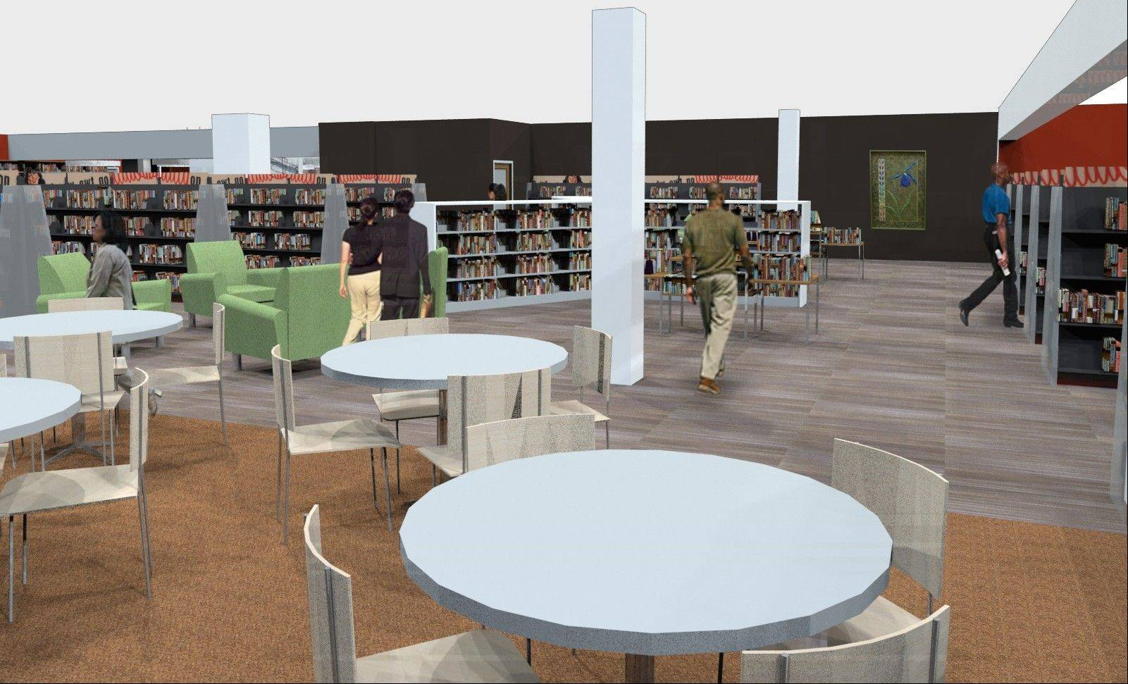 "The new ""marketplace"" will be the heart of the remodeled library, with a vending cafe and popular books on display."