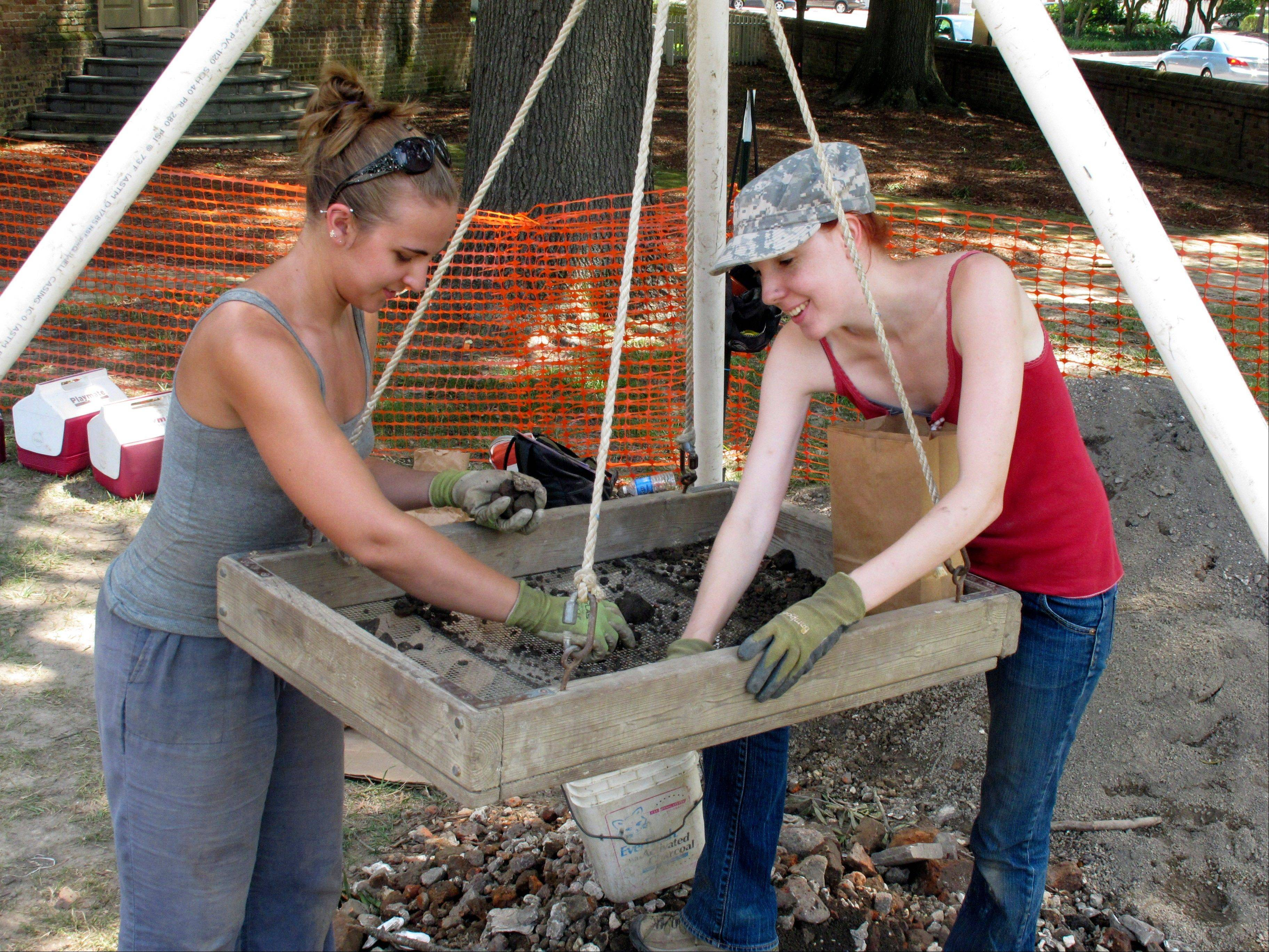 Lauran Kellam, right, and Rachael Hillmar, left, of the William and Mary Center for Archaeological Research sifts through soil dug up from a Civil War excavation site on the campus of the College of William and Mary in Williamsburg, Va.