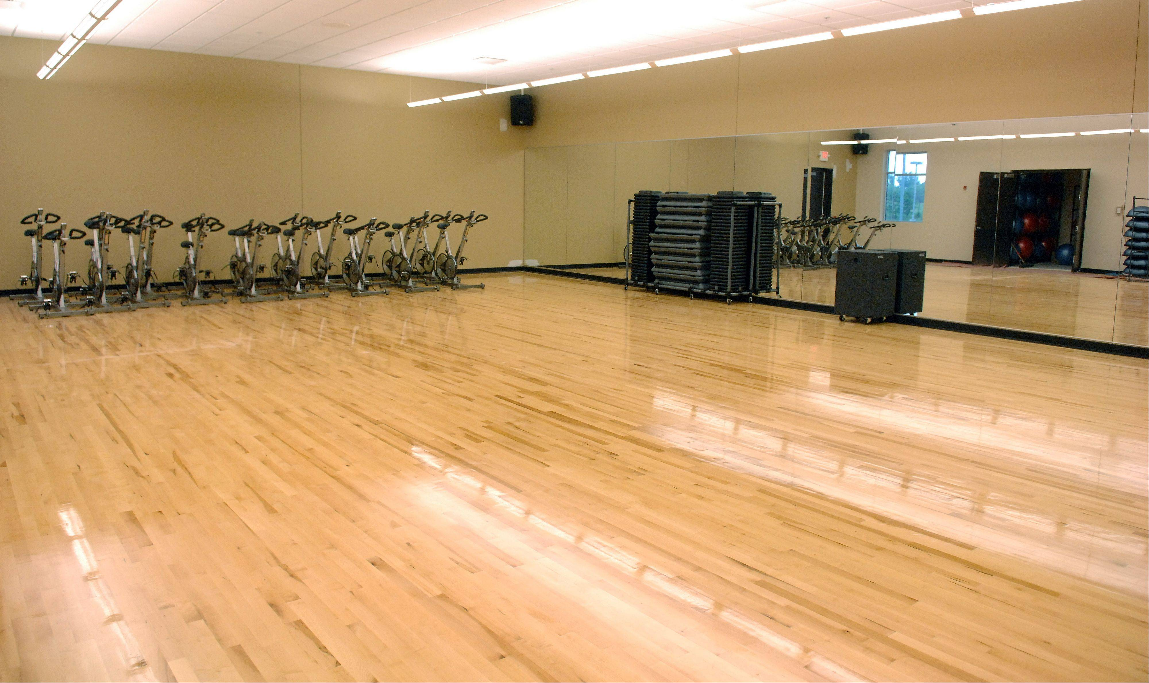 A workout studio in the Dundee Township Park District's new Randall Oaks Recreation Center in West Dundee.