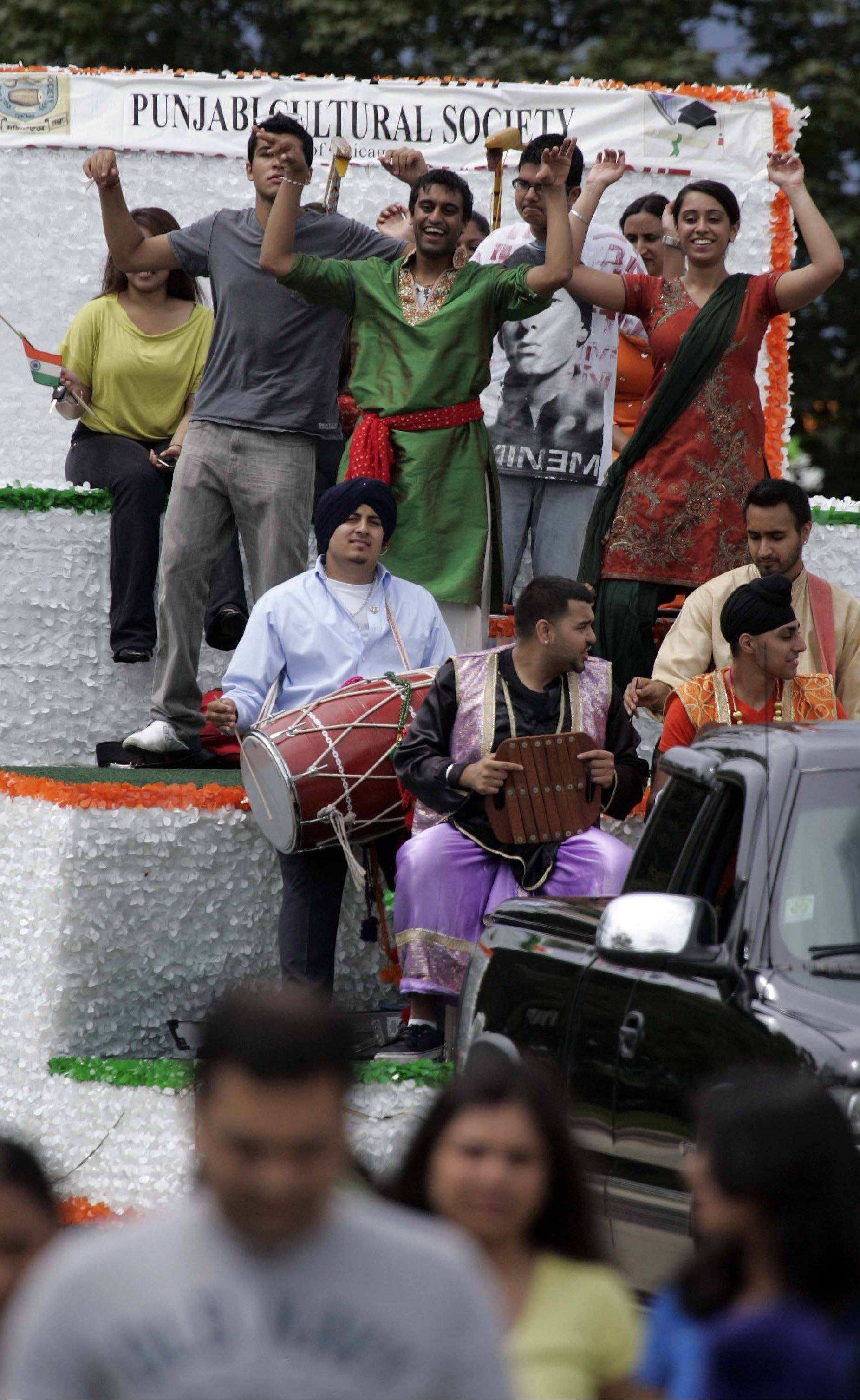 The Punjabi Cultural Society float in the 2011 Indian Independence Day parade, sponsored by the Chicago-based Federation of Indian Associations.