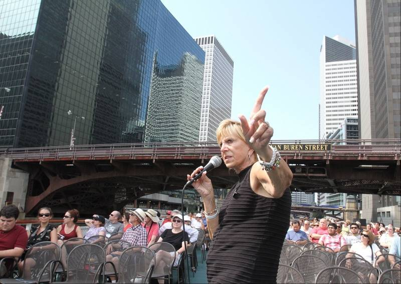 Patricia Grund Of Arlington Heights Leads The Official Chicago Architecture Foundation River Cruise As It Passes