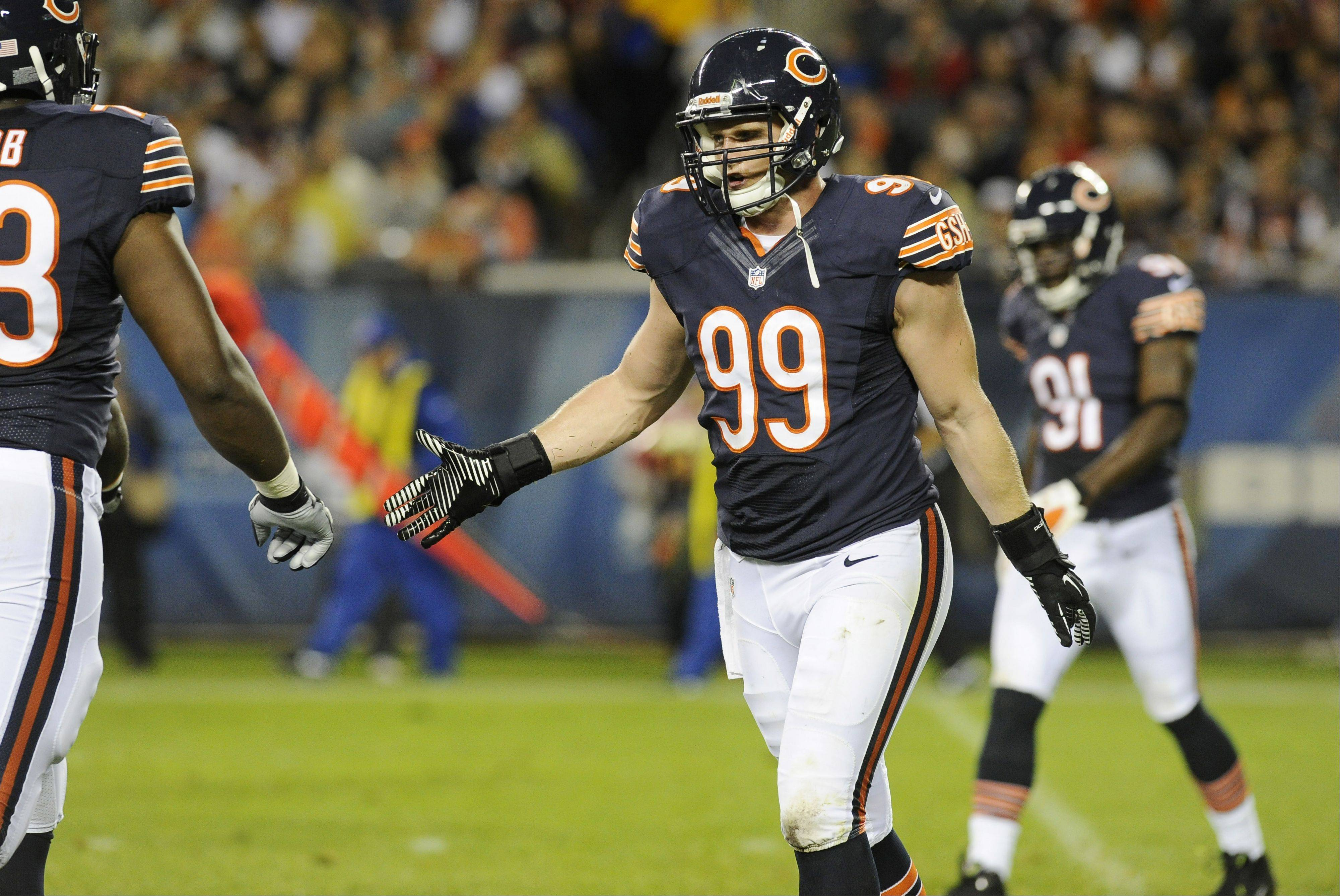 Chicago Bears Shea McClellin walks off the field during the second half against Denver in their preseason opener at Soldier Field in Chicago.