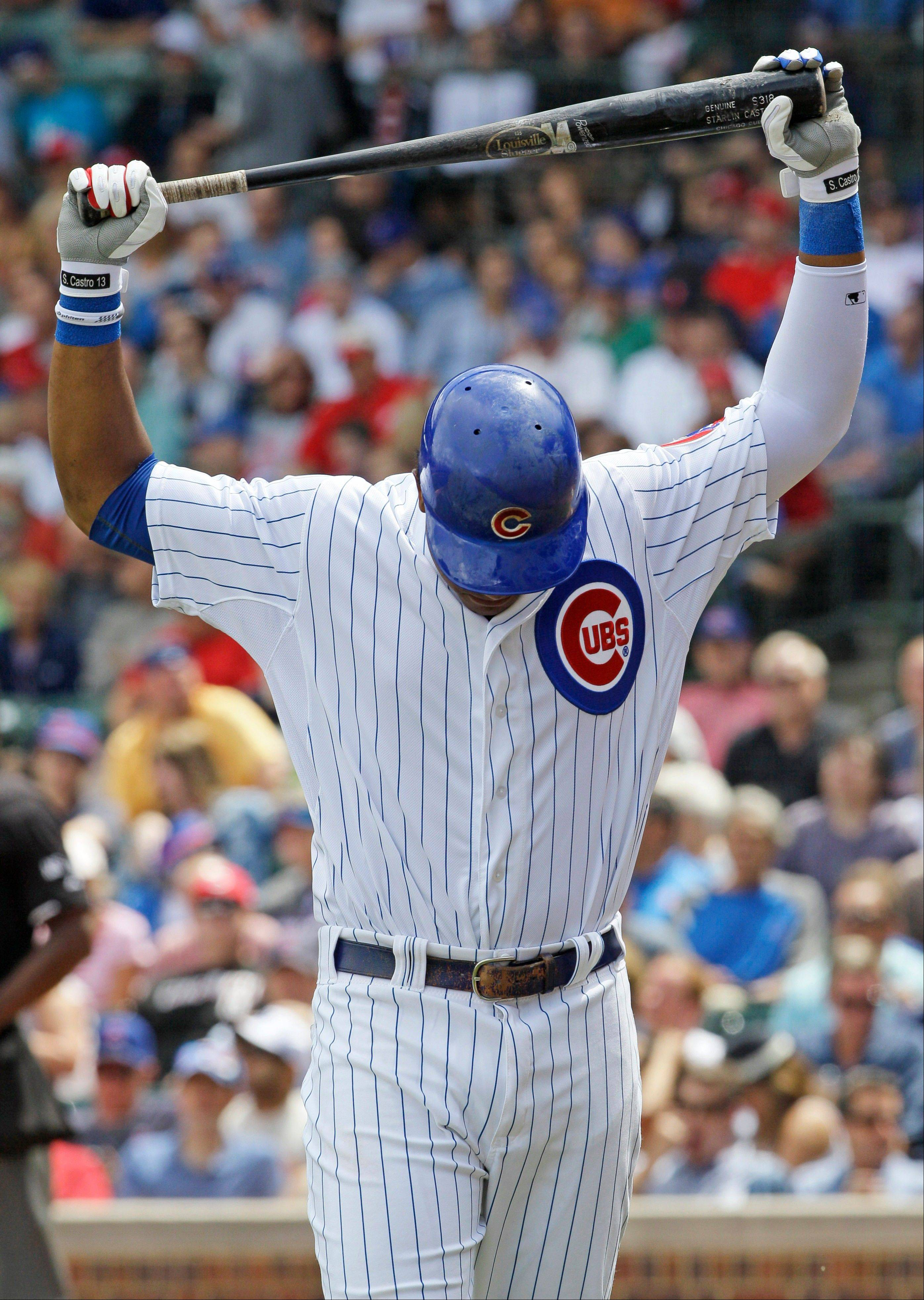 Cubs shortstop Starlin Castro reacts after being called out on strikes Friday during the first inning against the Cincinnati Reds at Wrigley Field.