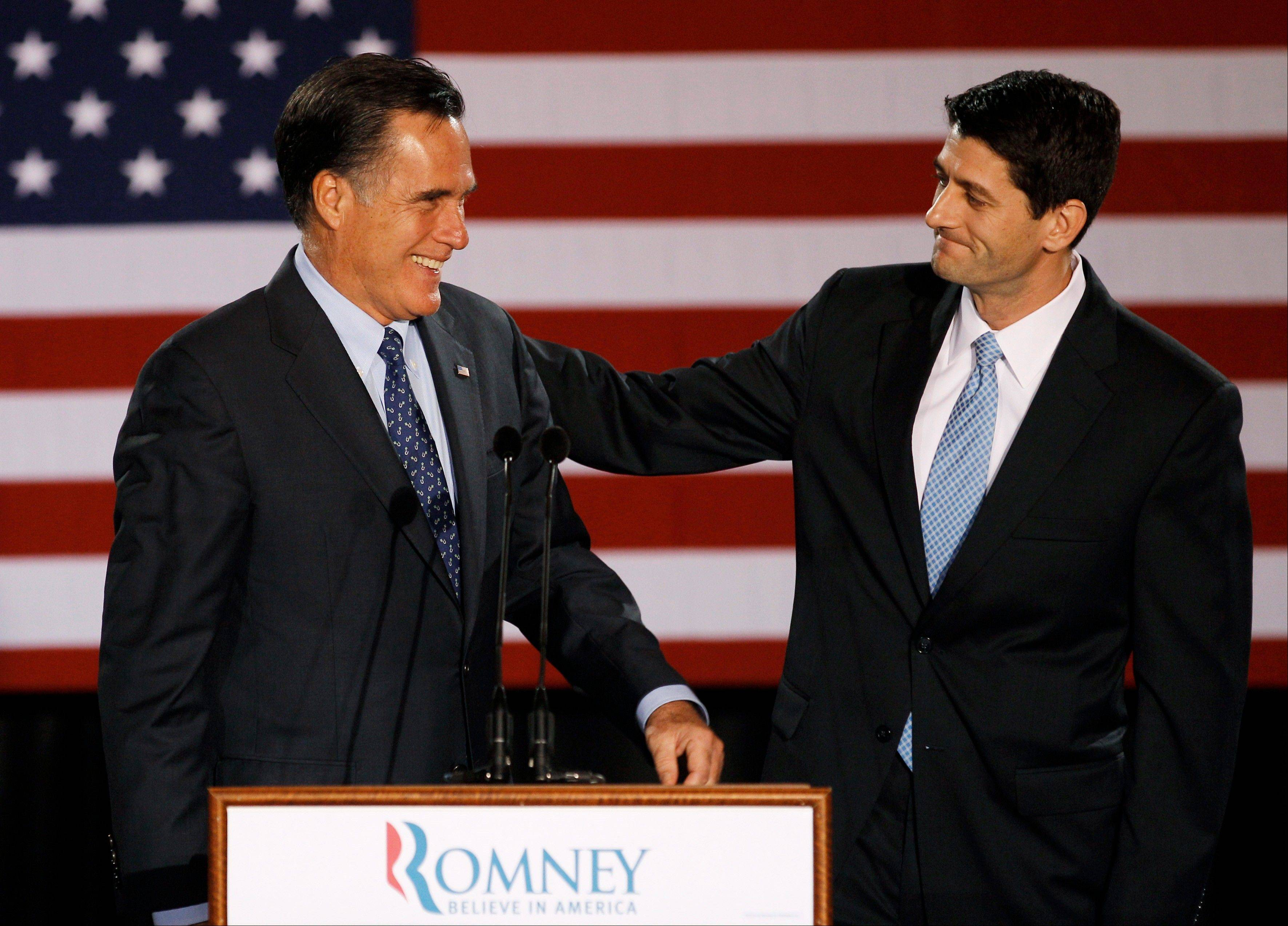 House Budget Committee Chairman Republican Rep. Paul Ryan of Wisconsin introduces Republican presidential candidate, former Massachusetts Gov. Mitt Romney before Romney spoke at the Grain Exchange in Milwaukee, in this April 3, 2012 file photo.