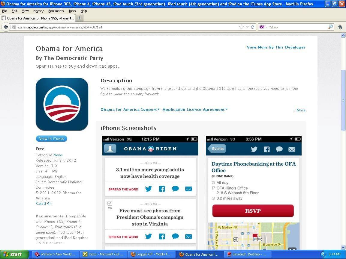 A screenshot of the Obama for America app page on iTunes. Some privacy advocates are worried because the app lists the first name, last initial and home address of Democrats. Others point out that all the information is publicly available elsewhere.