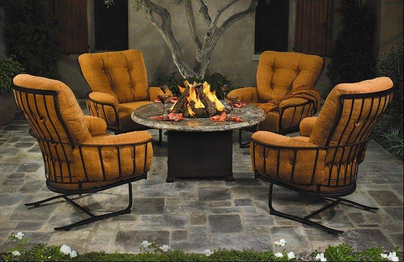 Viking Patio carries a line of these plush couches, lounge chairs and dining sets made by Lloyd Flanders.