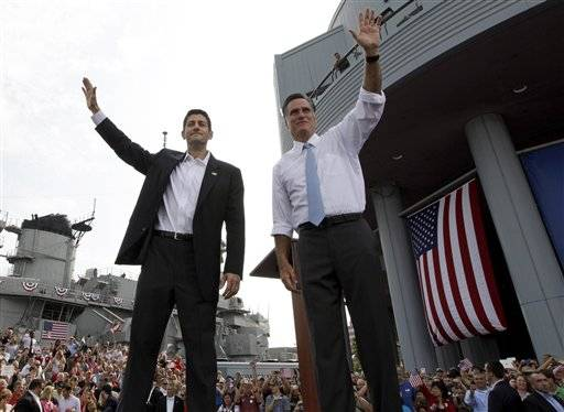 Republican presidential candidate, former Massachusetts Gov. Mitt Romney, right, and vice presidential candidate Wisconsin Rep. Paul Ryan, R-Wis., wave at the crowd during a campaign event, Saturday, Aug. 11, in Norfolk, Va.