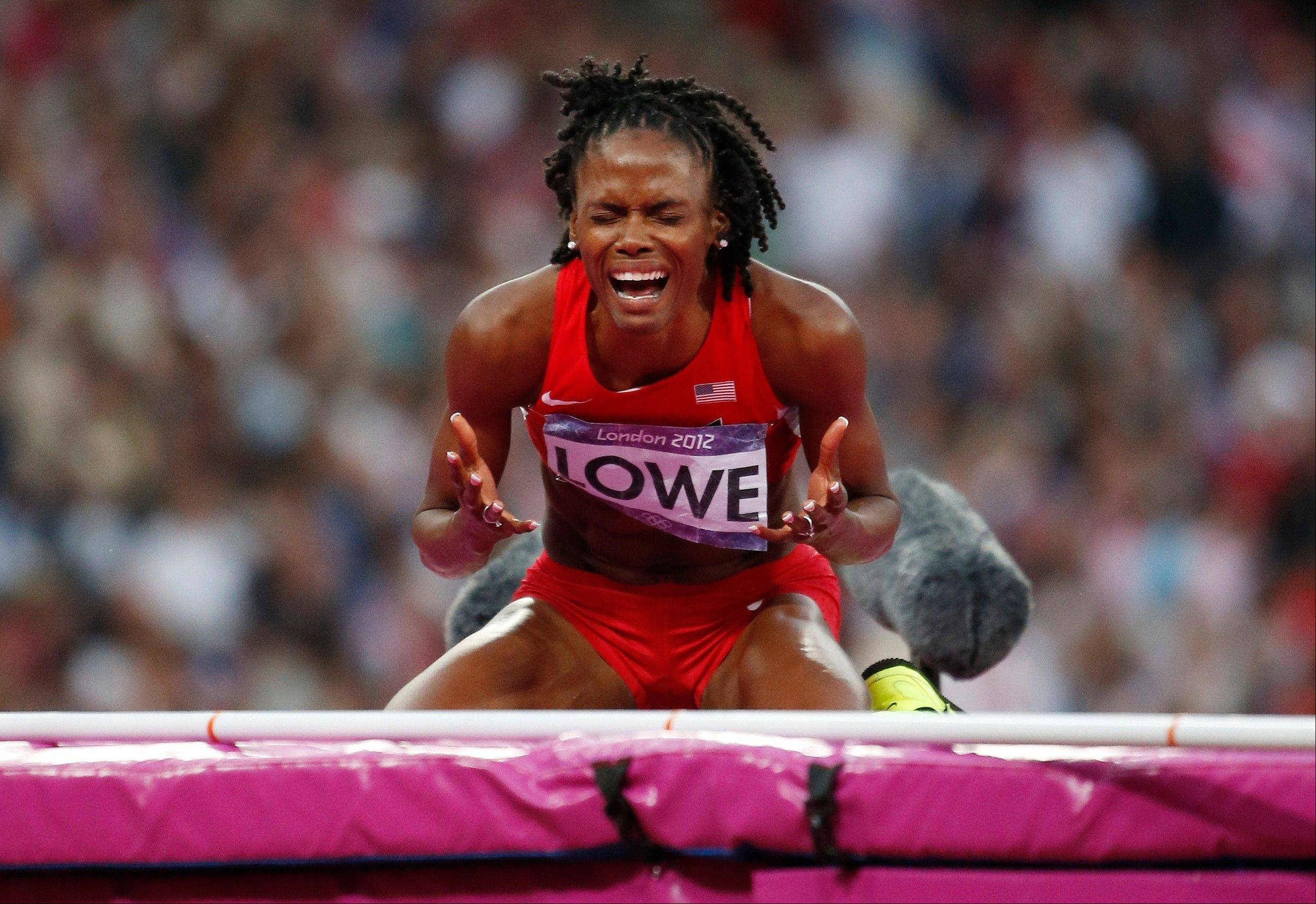 United States' Chaunte Lowe reacts after failing to clear the bar in the women's high jump final during the athletics in the Olympic Stadium at the 2012 Summer Olympics, London, Saturday, Aug. 11, 2012.