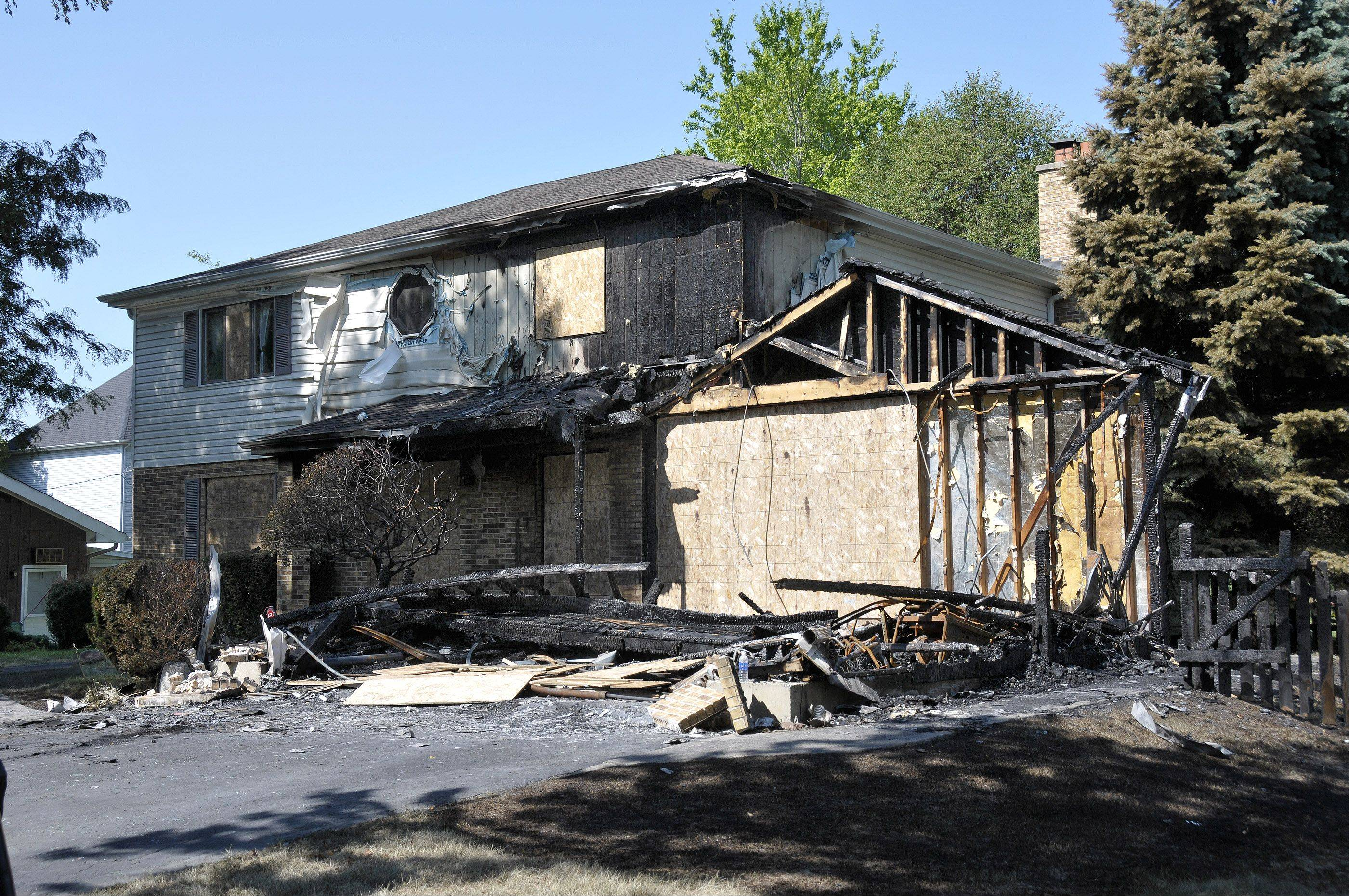 The scene of a July 22 fire on the 1000 block of South Ahrens Avenue in Lombard that killed one person and severely injured another.