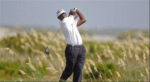 Vijay Singh of Fiji watches his drive from the sixth tee during the third round of the PGA Championship golf tournament on the Ocean Course of the Kiawah Island Golf Resort in Kiawah Island, S.C., Saturday, Aug. 11, 2012.