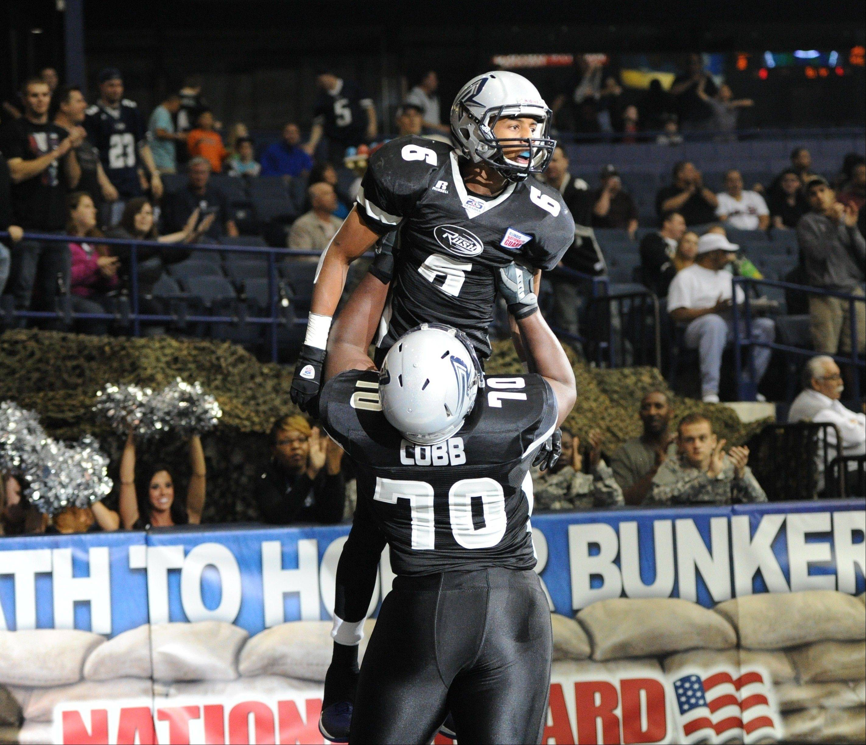 Jared Perry celebrates another big reception and score for the Chicago Rush. The AFL Rookie of the Year scored 33 touchdowns and had 133 catches for the Chicago franchise.