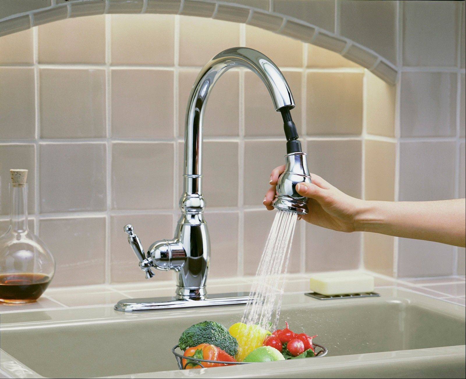 Pull-out faucets offer normal or spray-flow water settings.