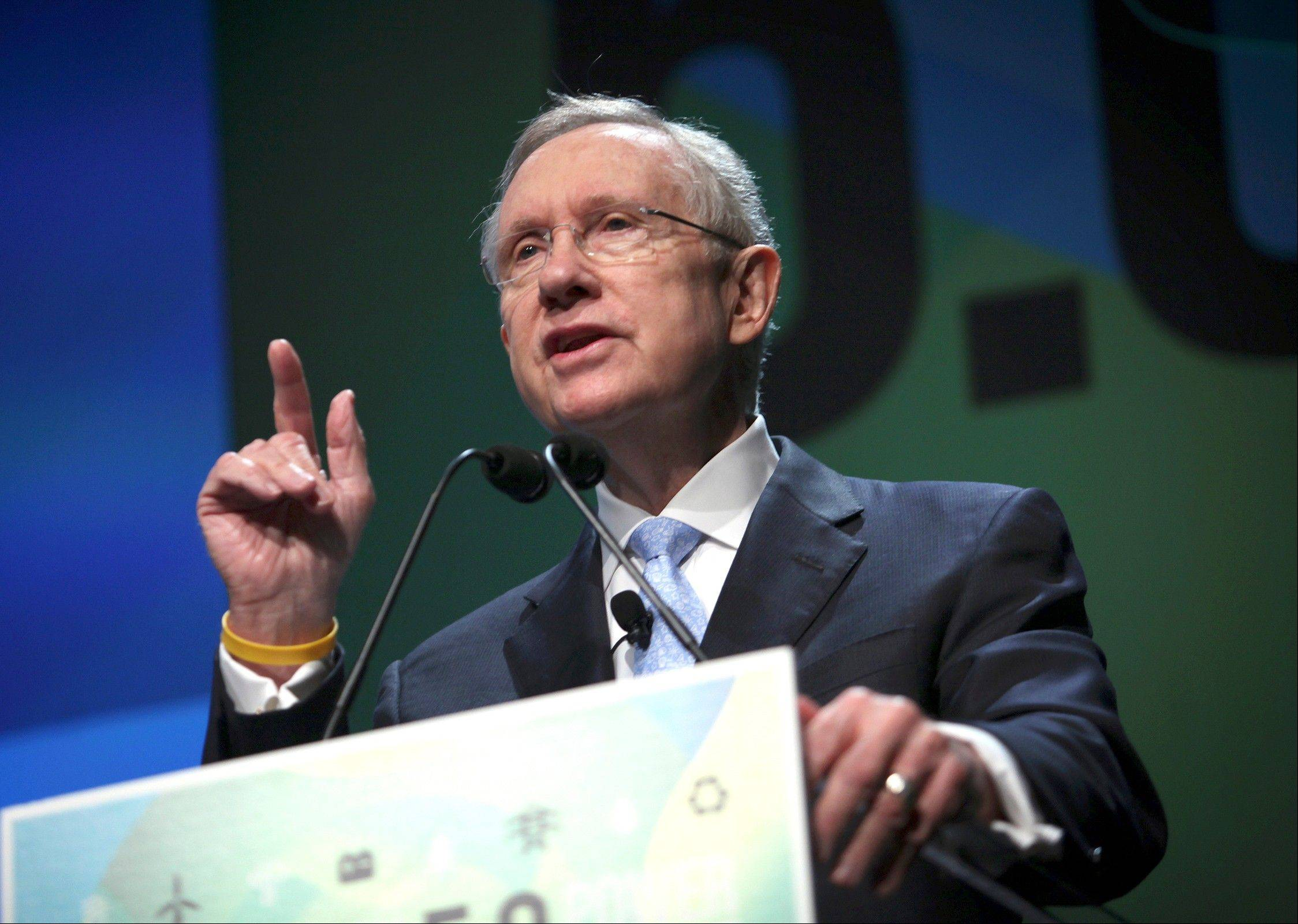 U.S. Sen. Harry Reid, D-Nev., speaks at the National Clean Energy Summit at the Bellagio in Las Vegas on Aug. 7. On Aug. 2, Reid claimed that presumptive Republican nominee Mitt Romney has paid no taxes for 10 years. Republicans and the Romney campaign have challenged the claim, and Reid has not named his anonymous source or sources.