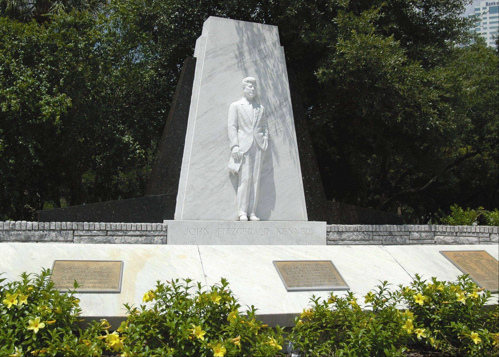 A statue of John F. Kennedy in Plant Park is situated on the University of Tampa campus. A street named Kennedy Boulevard memorializes the president's visit to Tampa four days before he was shot in 1963.