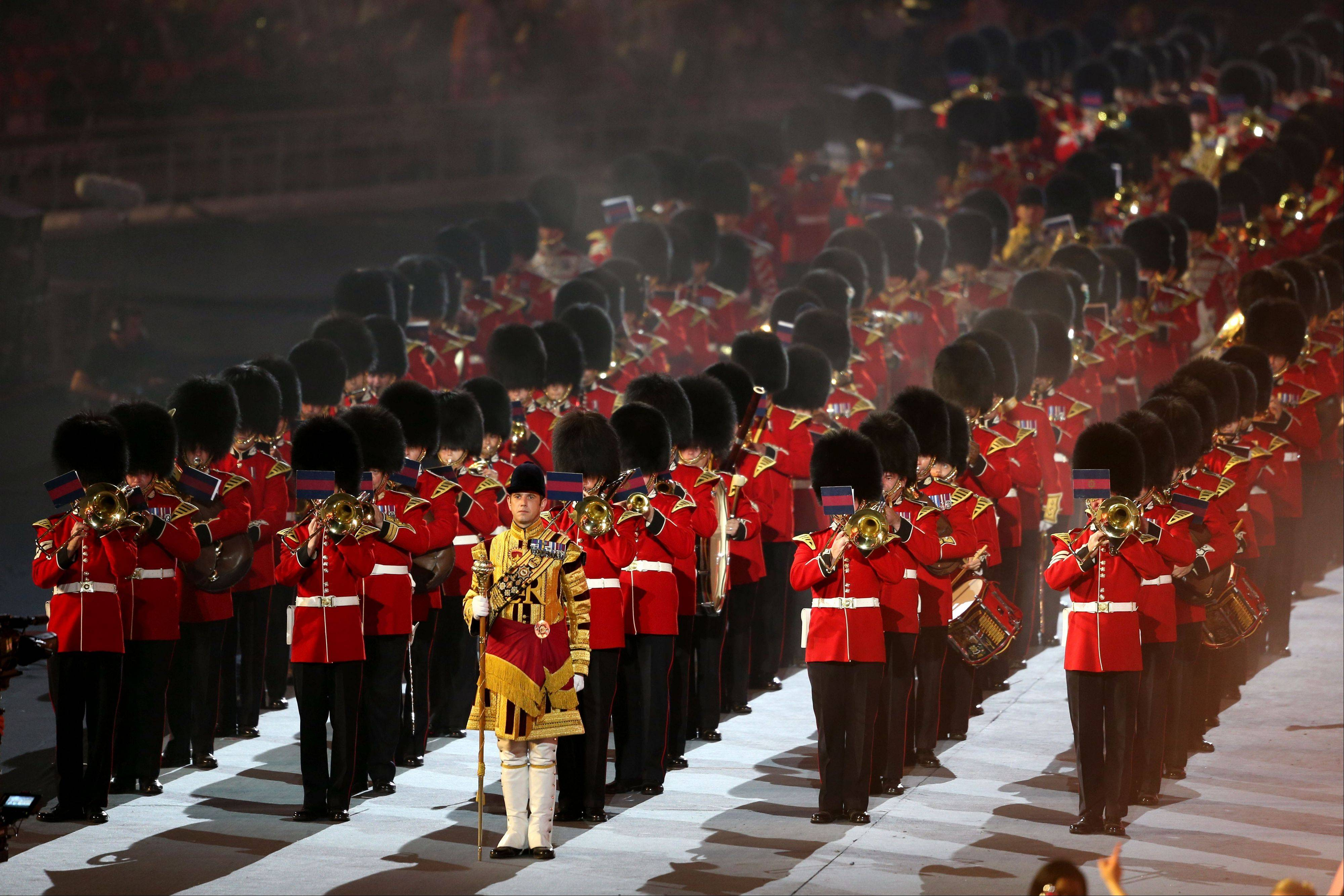 A British military marching band performs during the Closing Ceremony at the 2012 Summer Olympics.