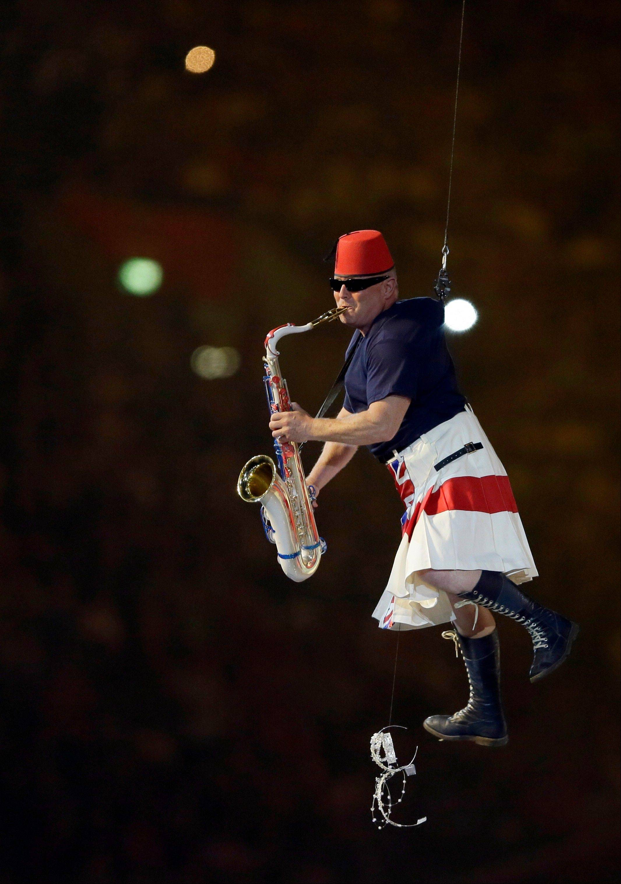 An artist performs during the Closing Ceremony at the 2012 Summer Olympics.