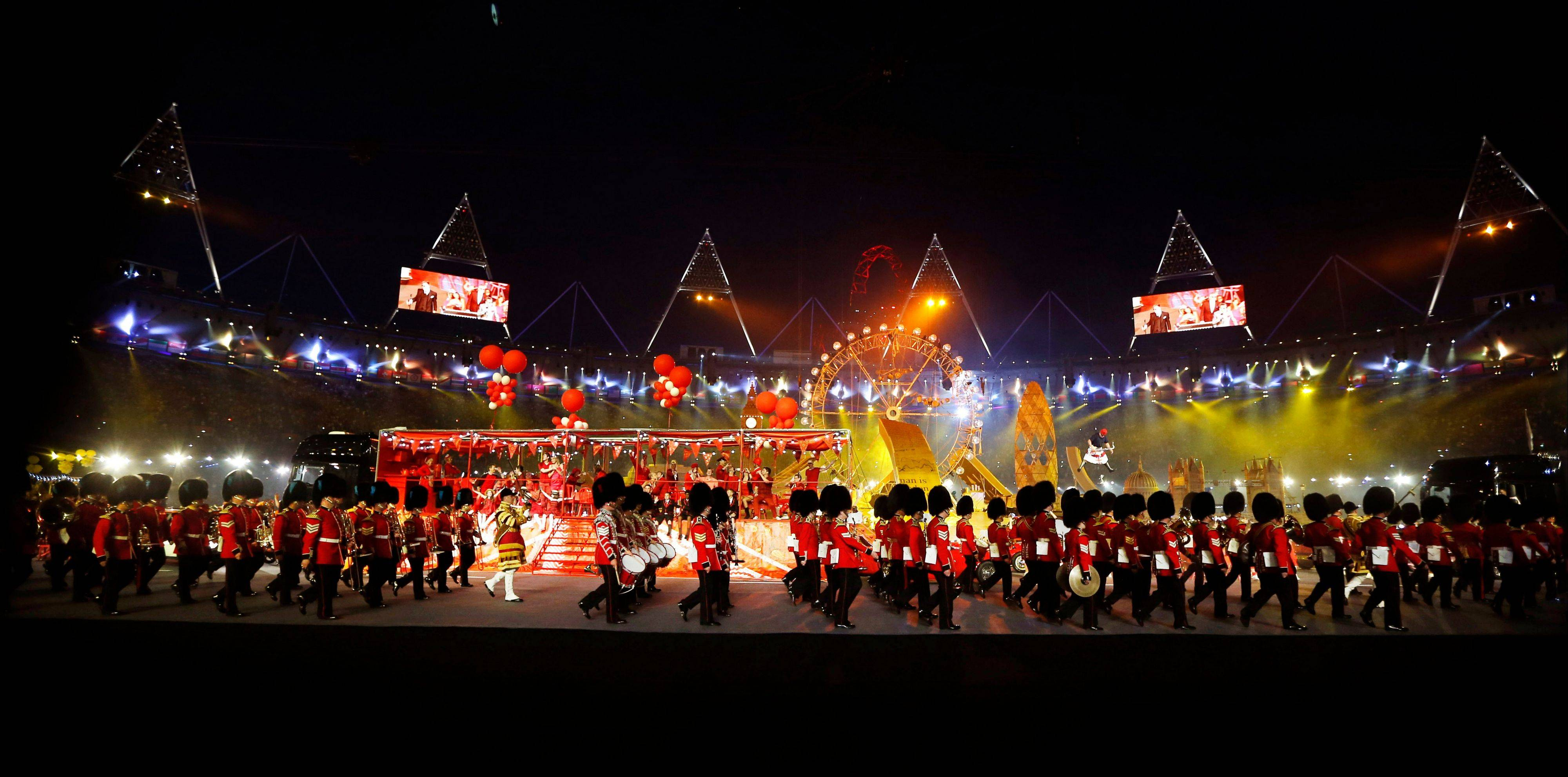 A military marching band performs during the Closing Ceremony at the 2012 Summer Olympics.
