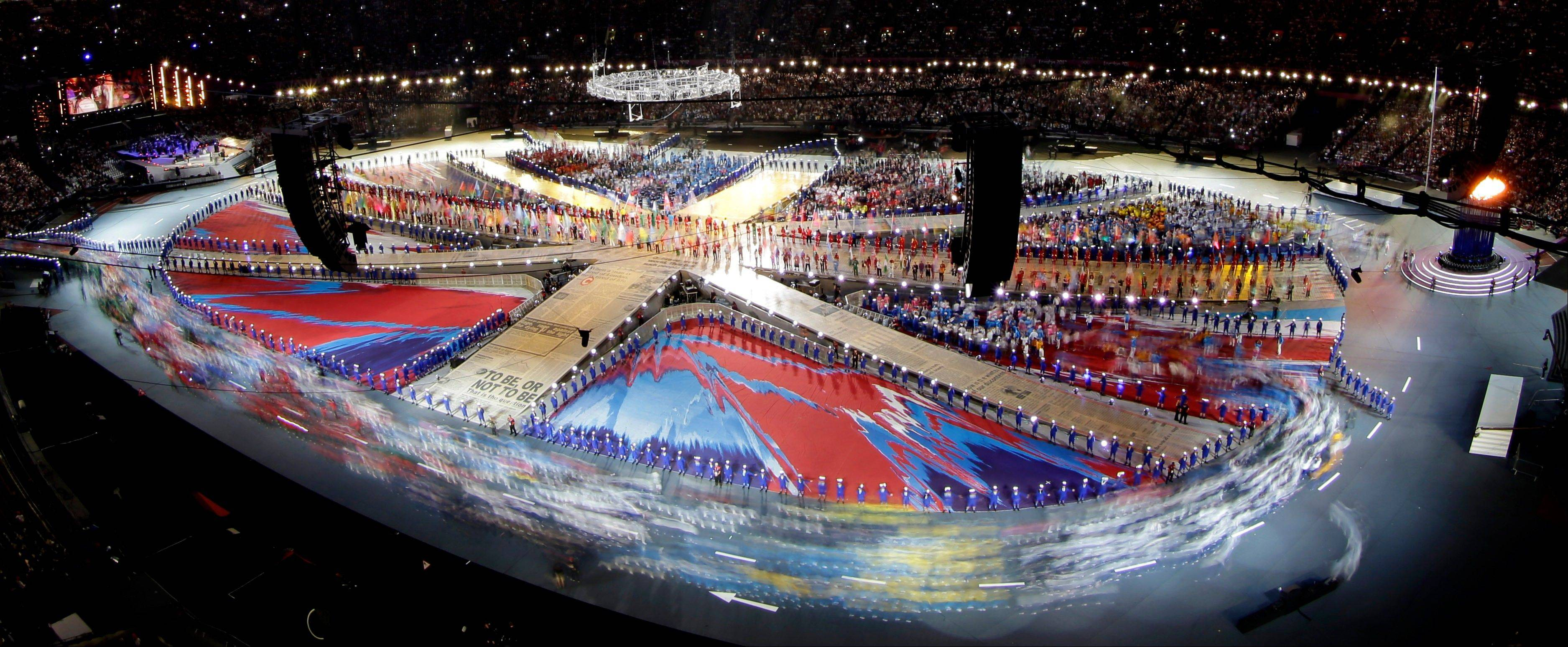 Athletes enter the Olympic Stadium during the Closing Ceremony at the 2012 Summer Olympics.