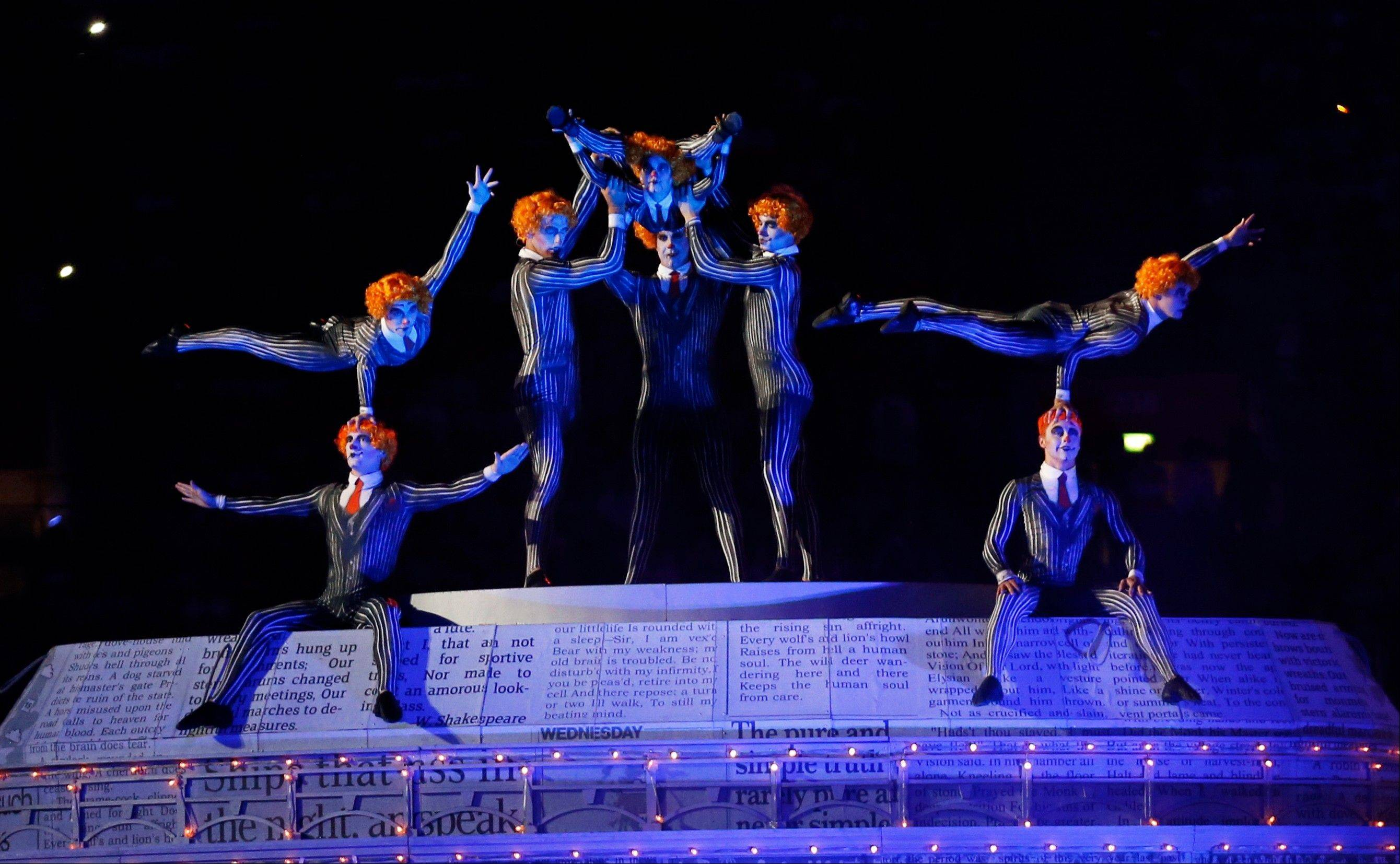 Acrobats perform onstage during the Closing Ceremony at the 2012 Summer Olympics.