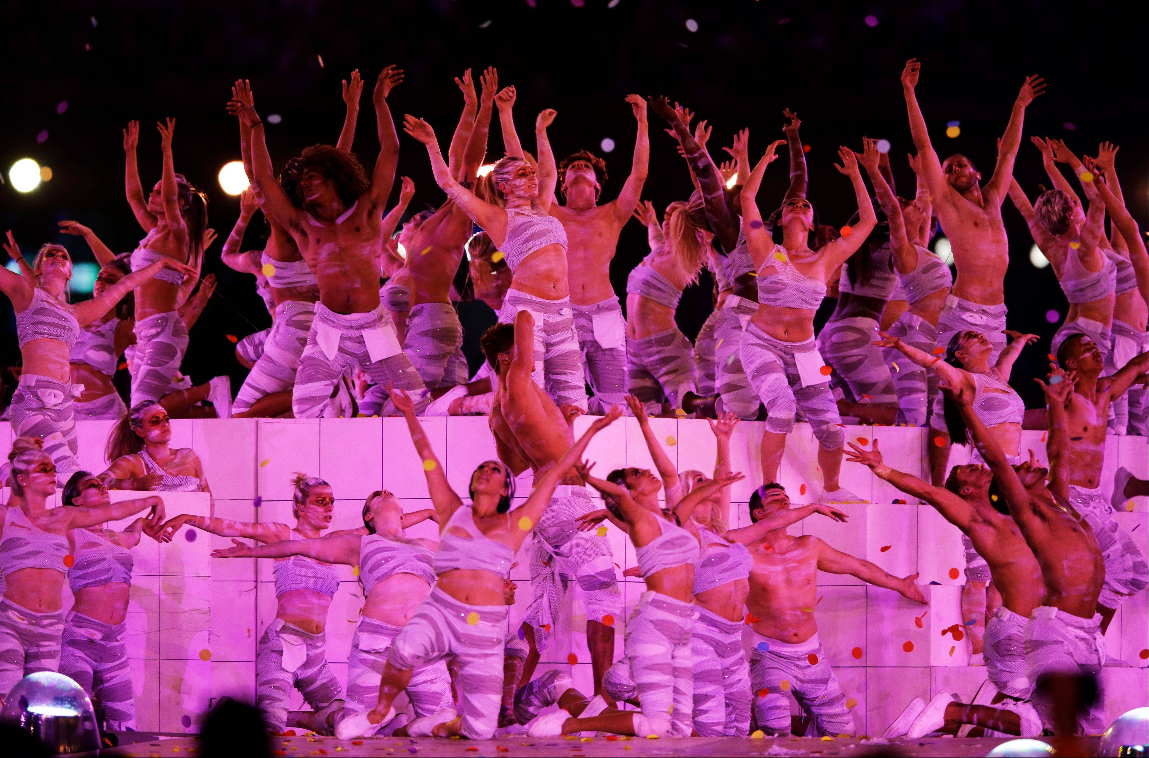 Artists perform during the Closing Ceremony at the 2012 Summer Olympics.