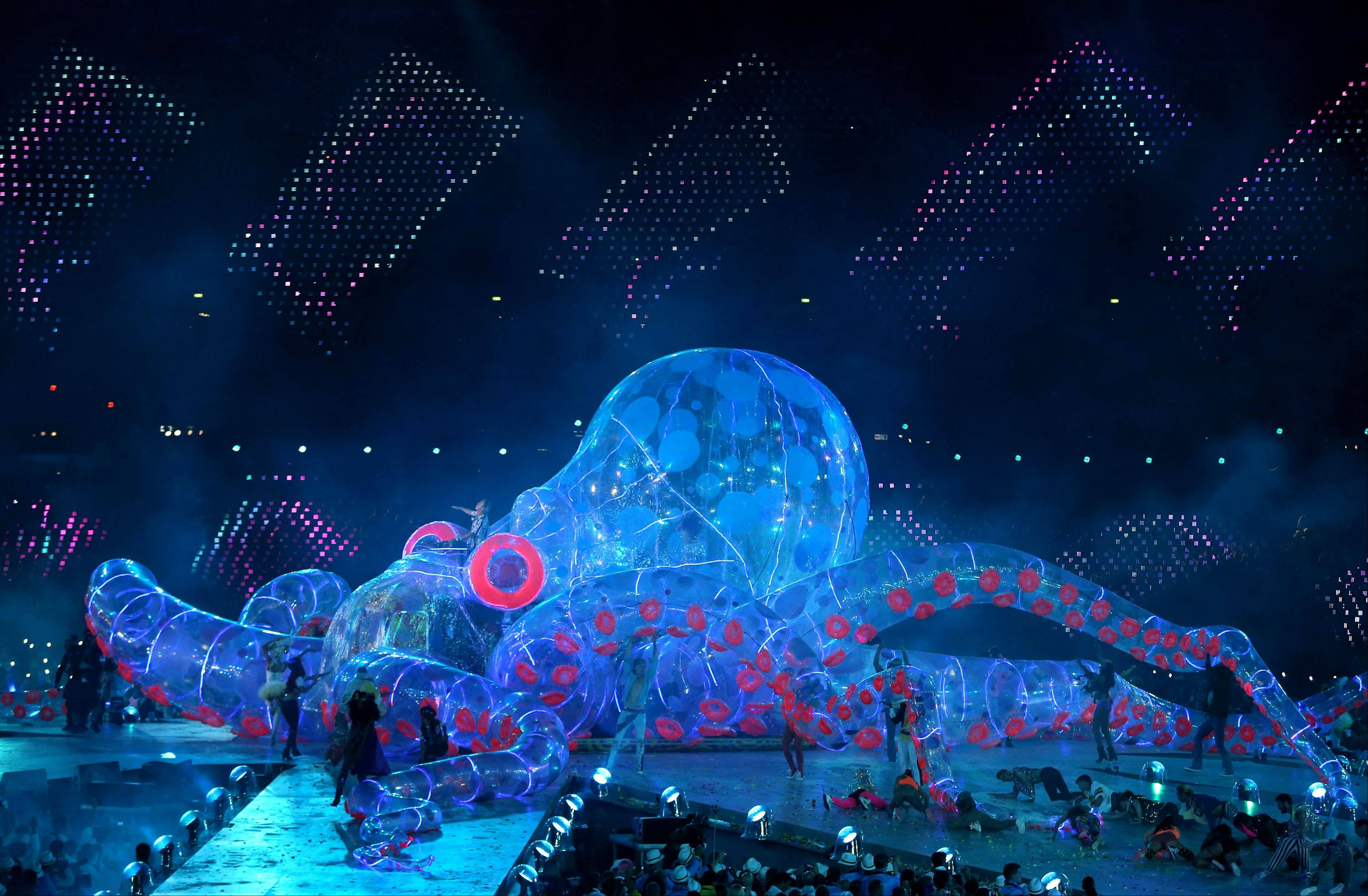 British DJ Fatboy Slim performs on a giant octopus during the Closing Ceremony at the 2012 Summer Olympics.