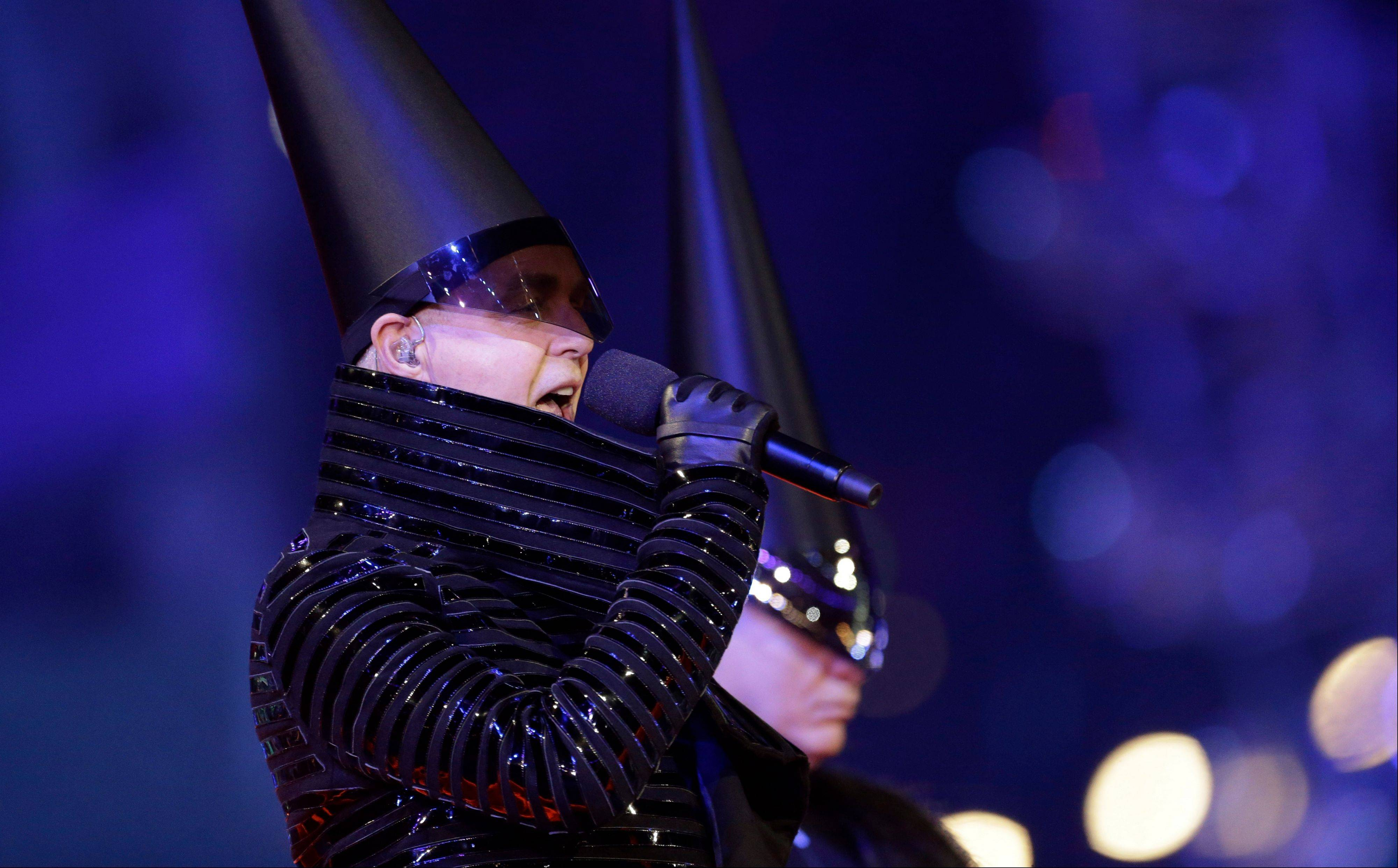 Neil Tennant, singer of the Pet Shop Boys, performs during the Closing Ceremony at the 2012 Summer Olympics.