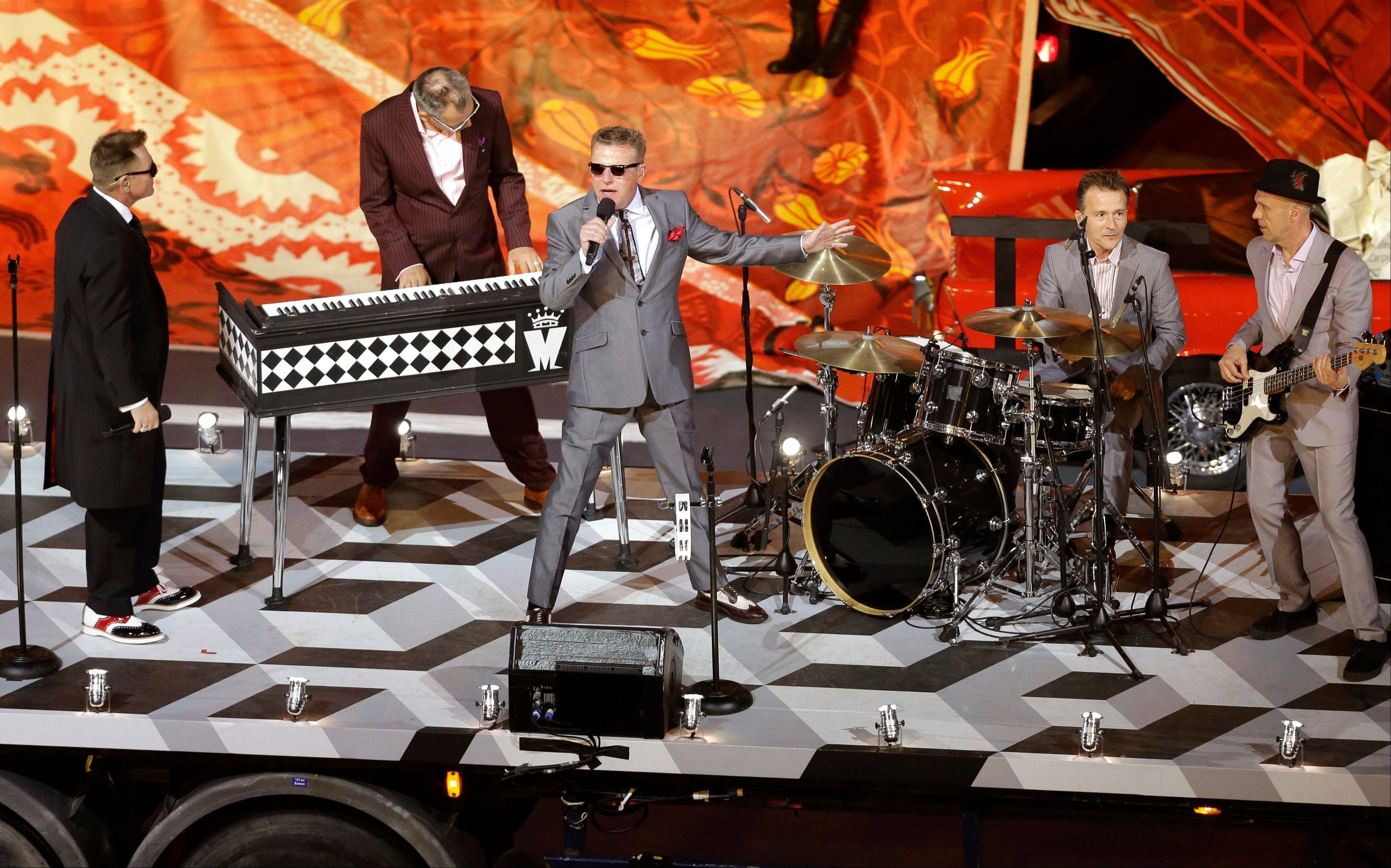 "Madness performs ""Our House"" during the Closing Ceremony in the Olympic Stadium at the 2012 Summer Olympics."
