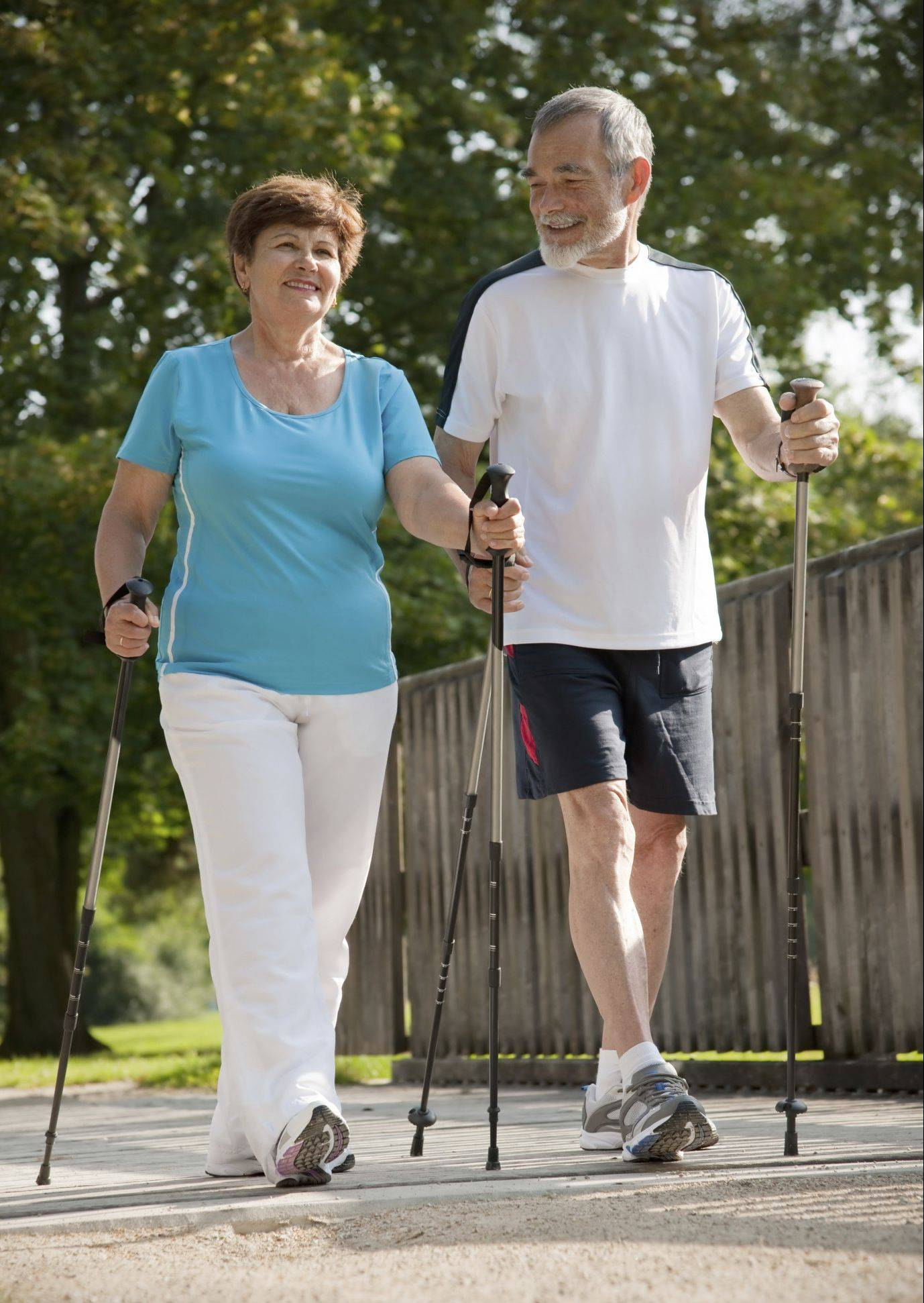 Nordic walking involves using poles, which exercises the arms and adds to the workout.