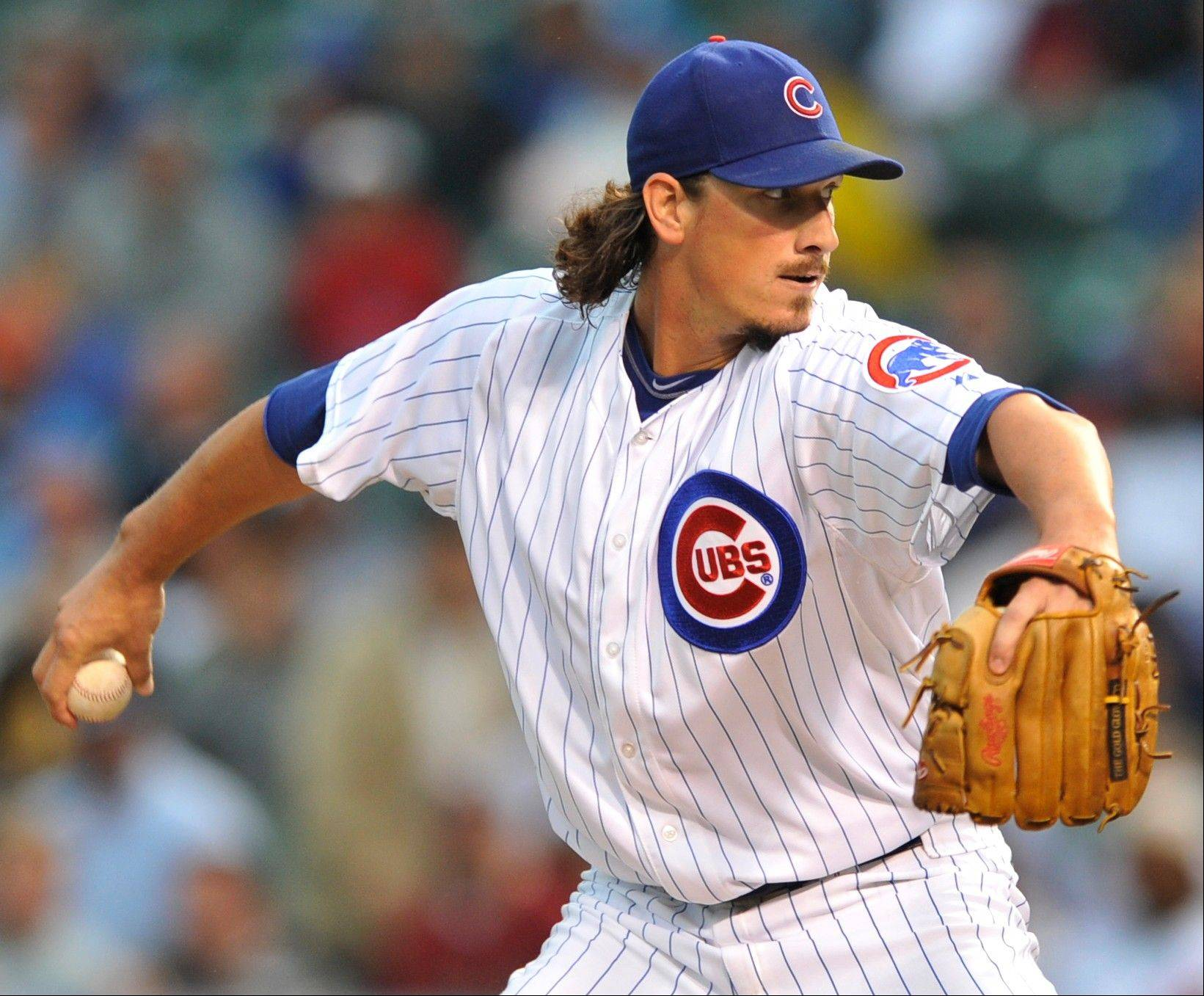 Chicago Cubs starter Jeff Samardzija delivers a pitch against the Houston Astros in the first inning during a baseball game Monday in Chicago.