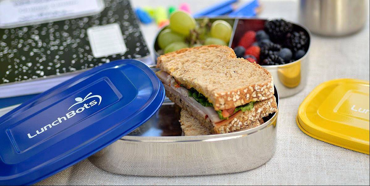 LunchBots, multi-compartment divided containers, make it easy to pack sandwiches and fruit