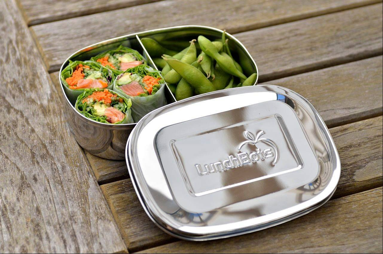 Multi-compartment divided containers from Lunchbots make it easy to create a bento box-style lunch.