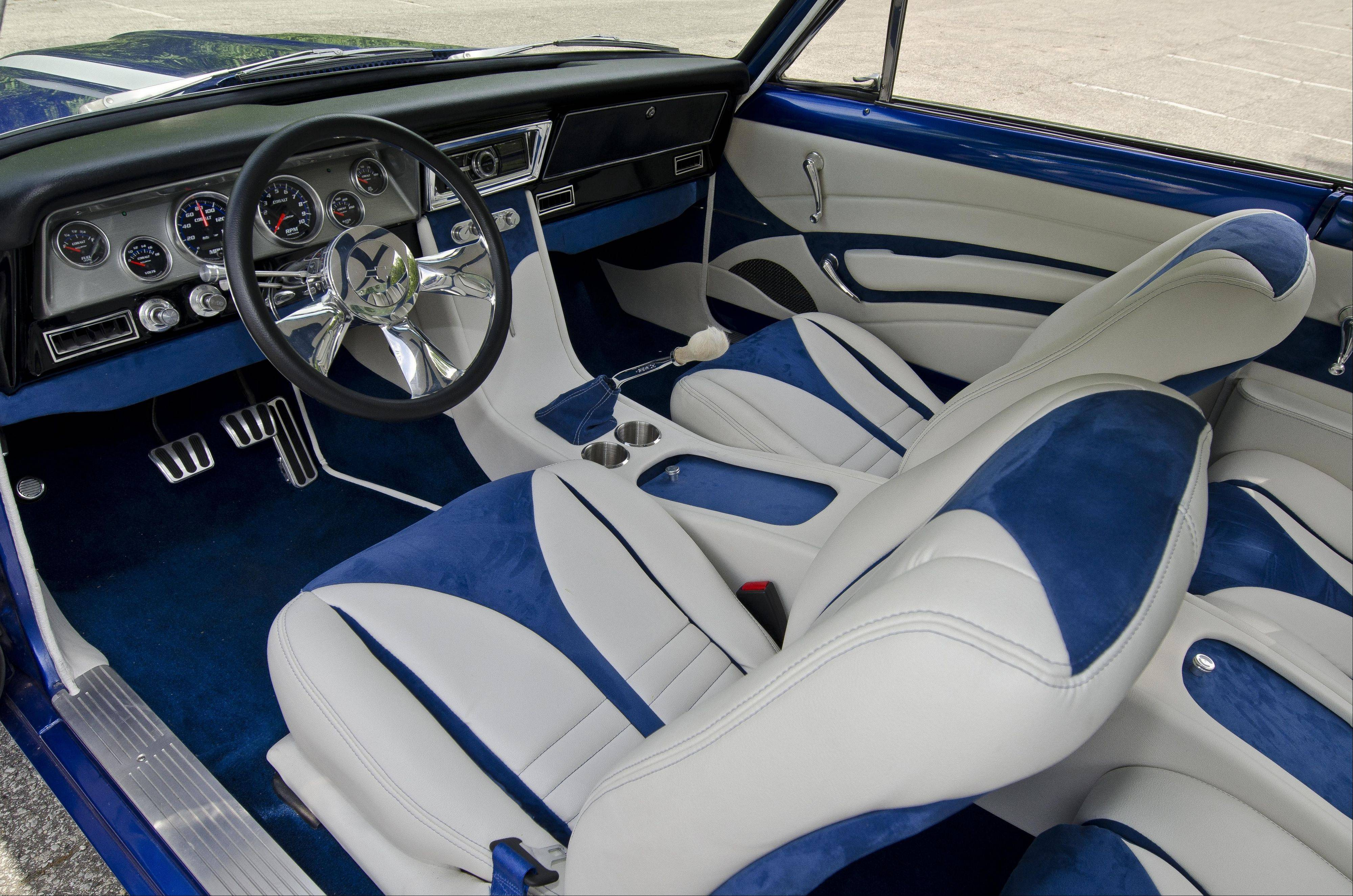 The Nova's cobalt blue and white interior glows at night when illuminated by LED lights around the headliner.